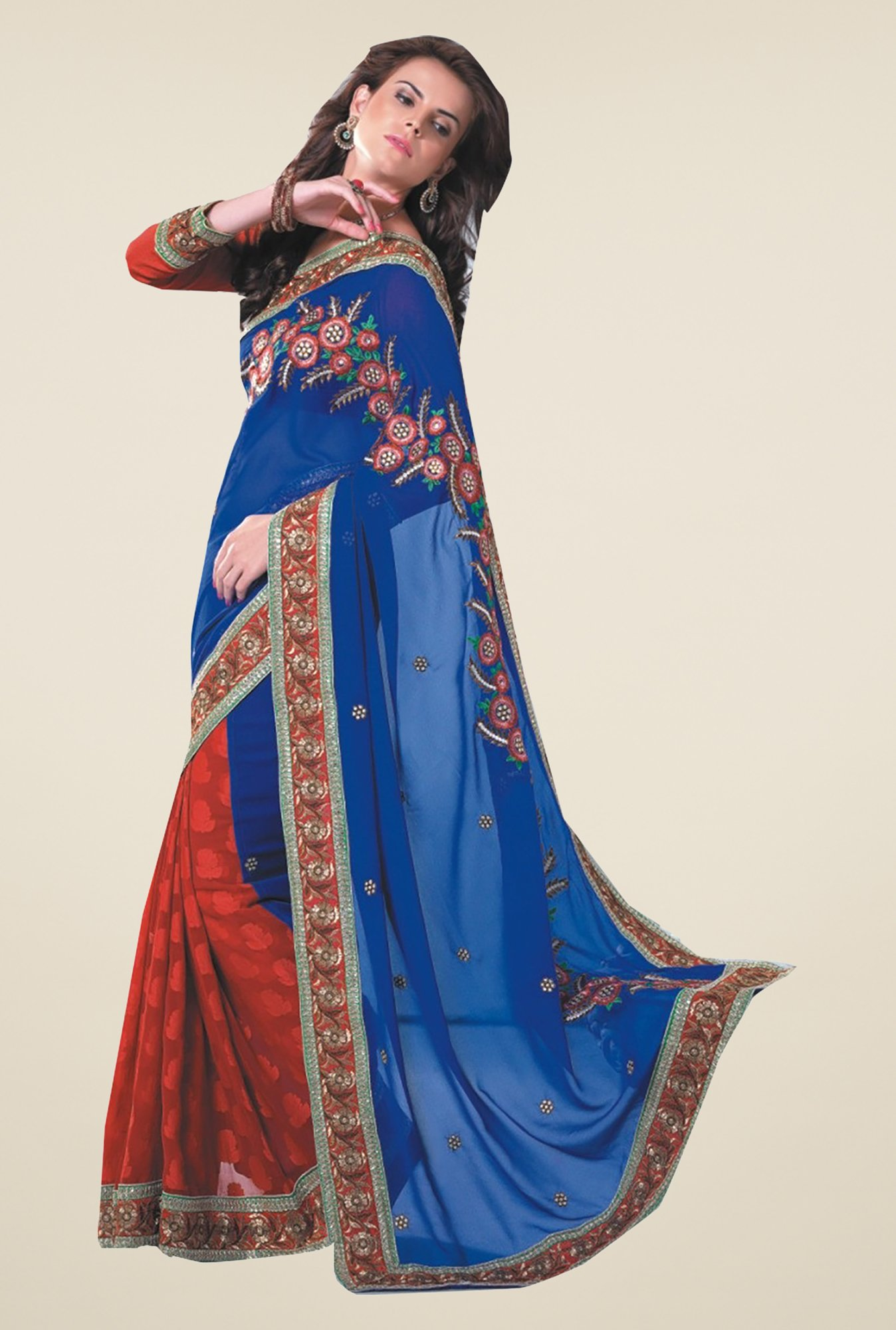 Ishin Red & Blue Faux Georgette & Chiffon Half & Half Saree