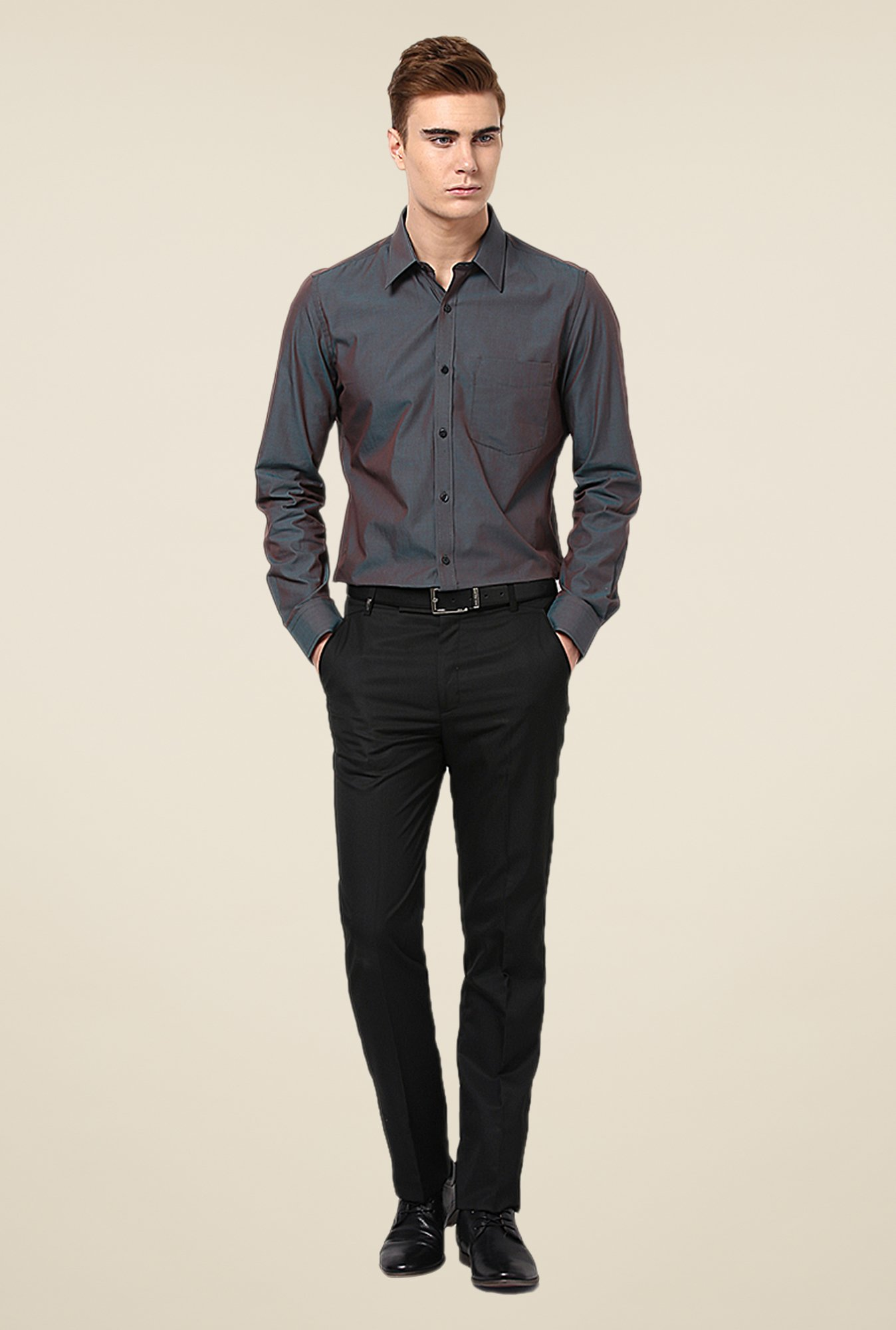 Turtle Grey Solid Slim-fit Shirt