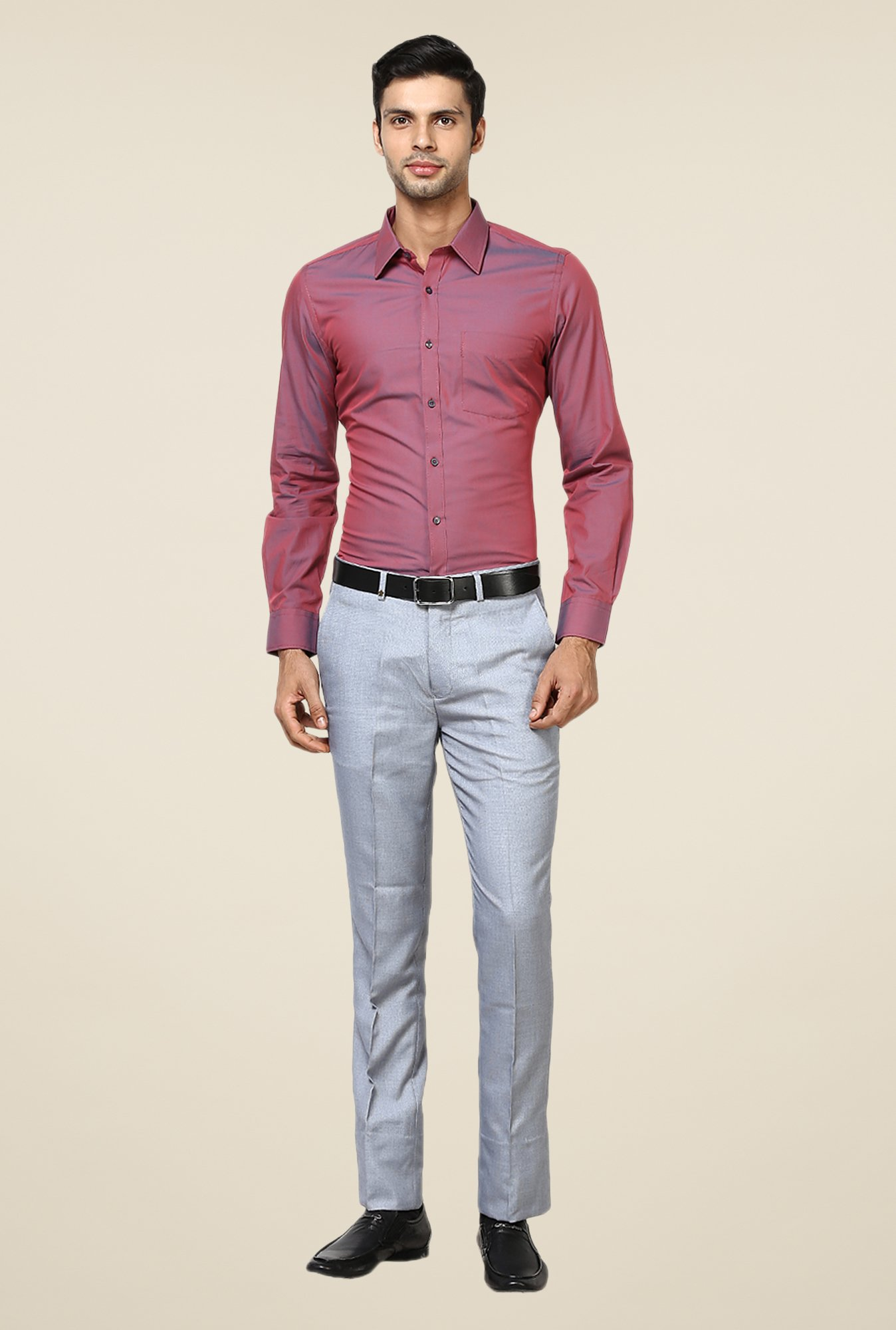 Turtle Maroon Solid Slim-fit Shirt