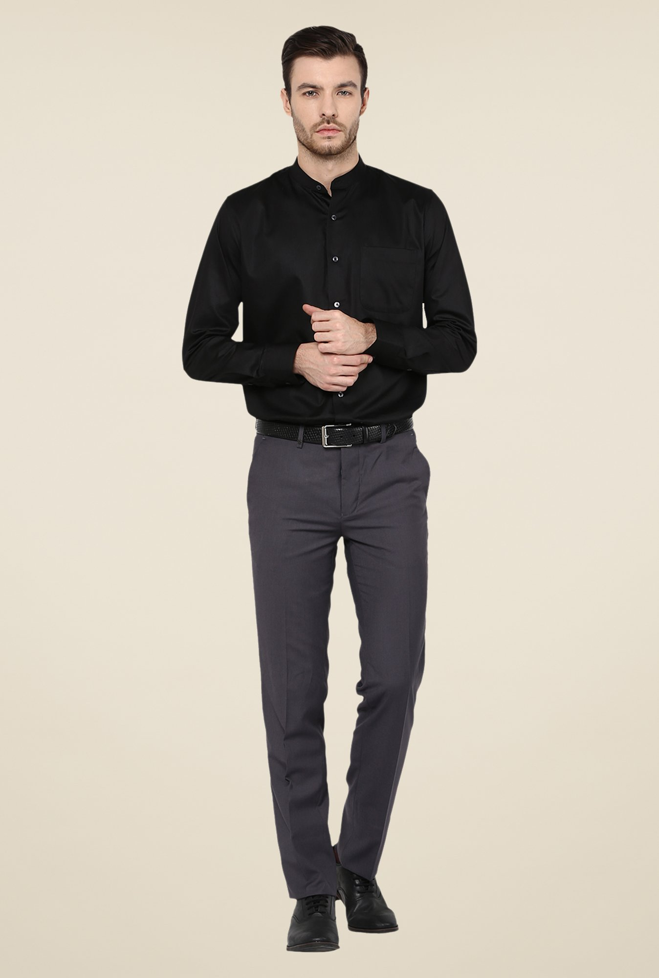 Turtle Grey Mid Rise Solid Trousers