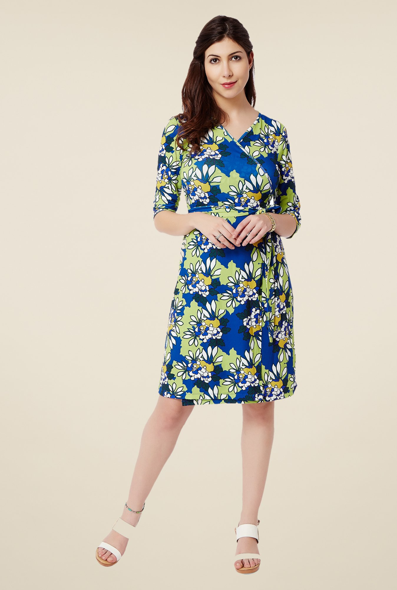 Avirate Blue Floral Print Wrap Dress