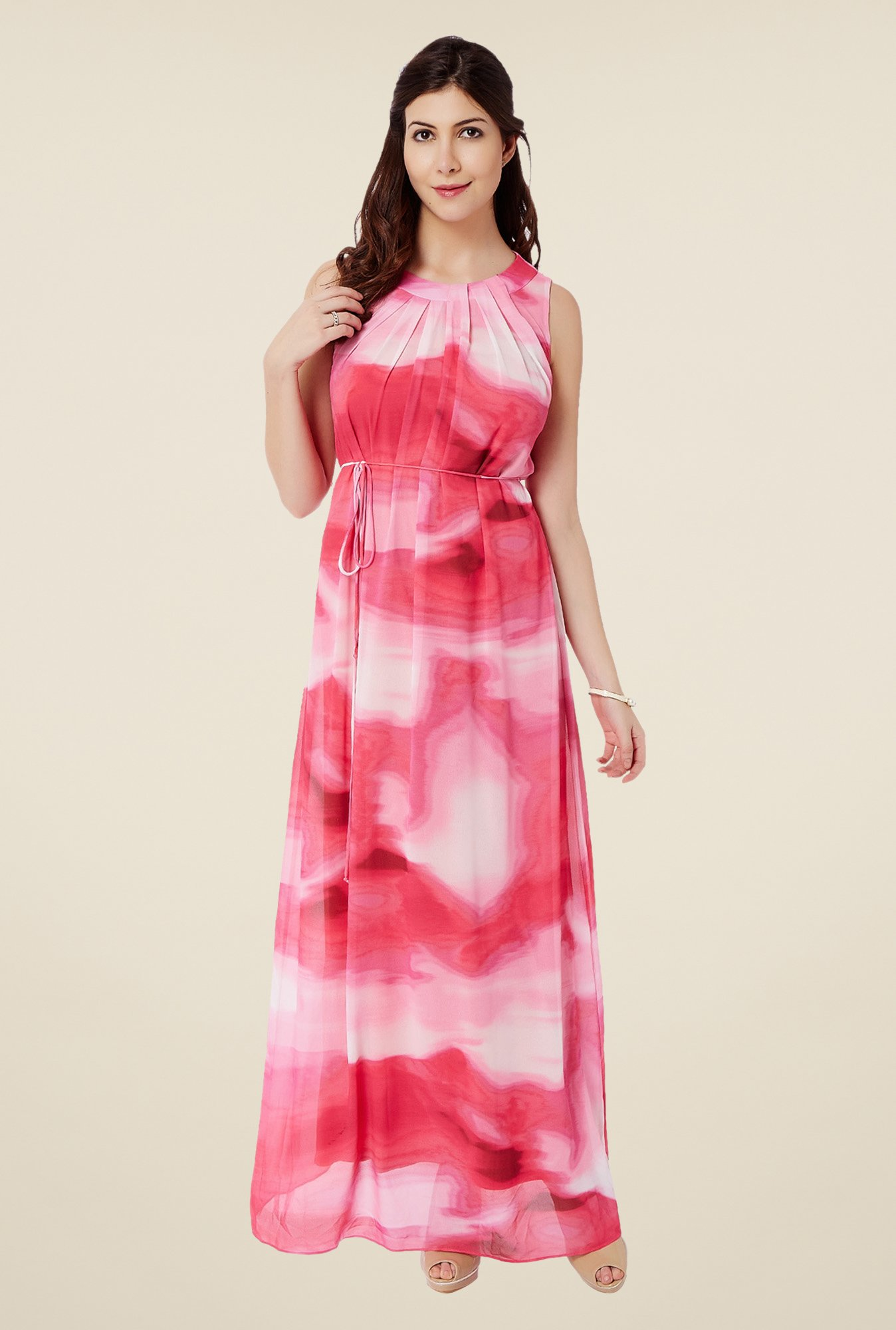 Avirate Red Flared Maxi Dress