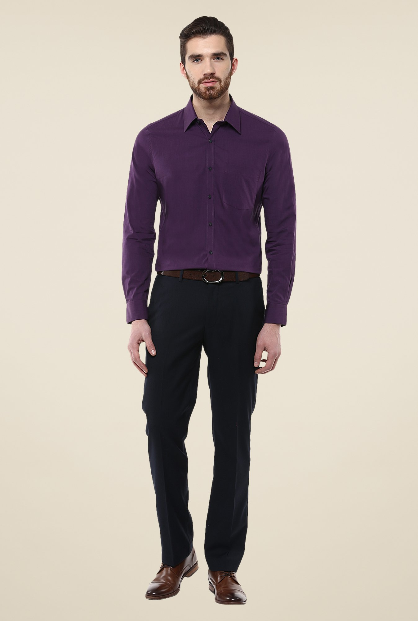 Turtle Purple Solid Full Sleeve Shirt