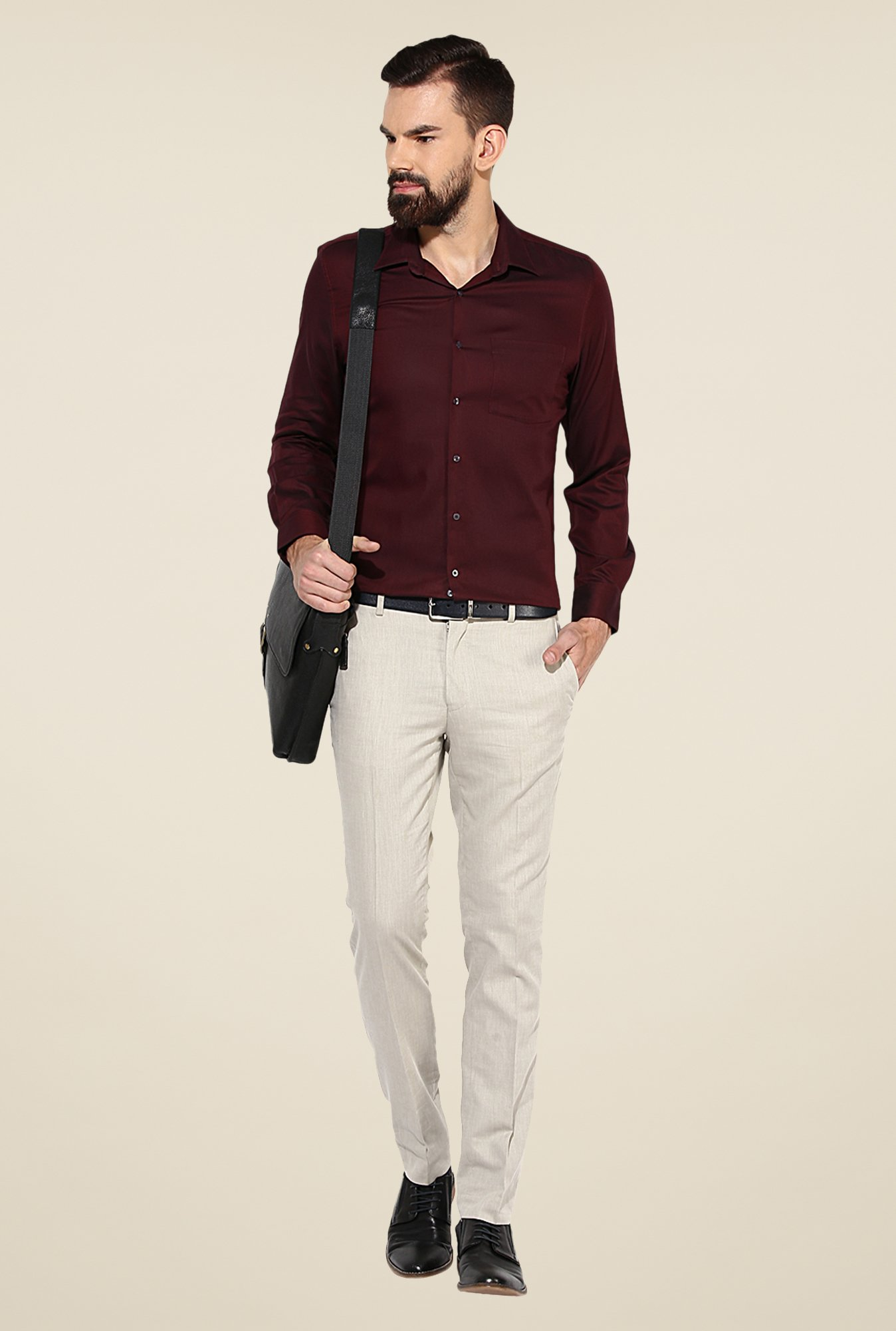 Turtle Maroon Solid Cotton Shirt