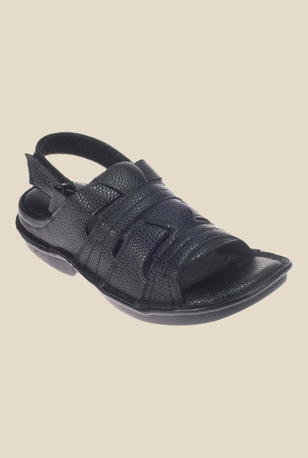 Khadim's Softouch Black Back Strap Sandals