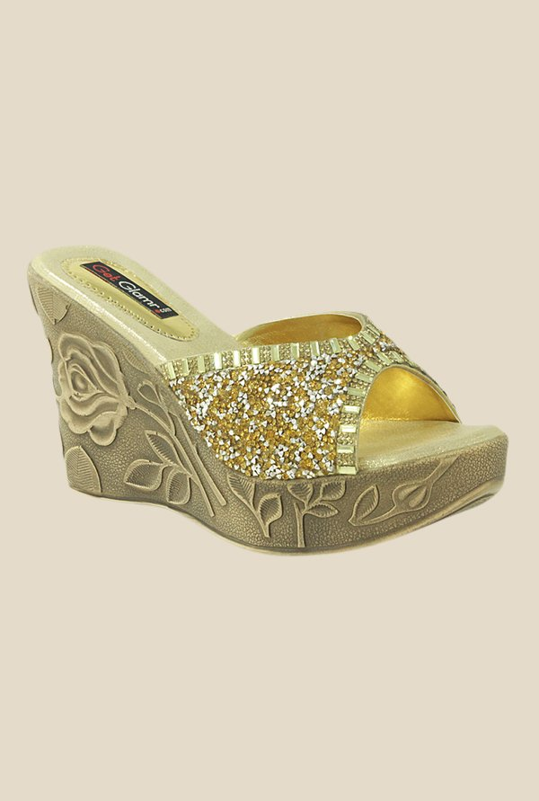 Get Glamr Ursula Golden Wedges