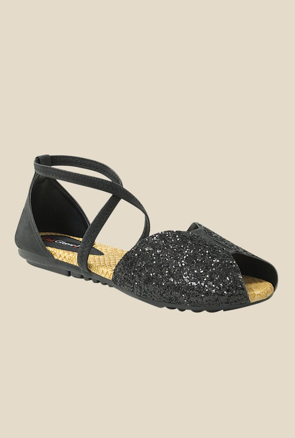 Get Glamr Rometty Black Cross Strap Sandals