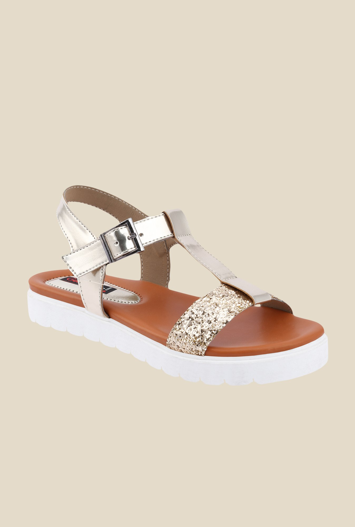 Get Glamr Lygia Golden Ankle Strap Sandals