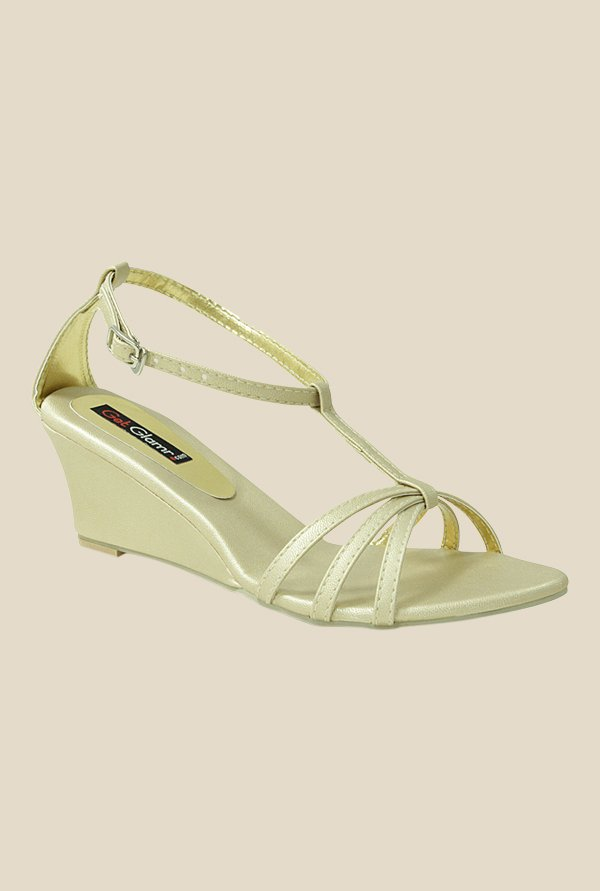 Get Glamr Gracas Golden Ankle Strap Wedges