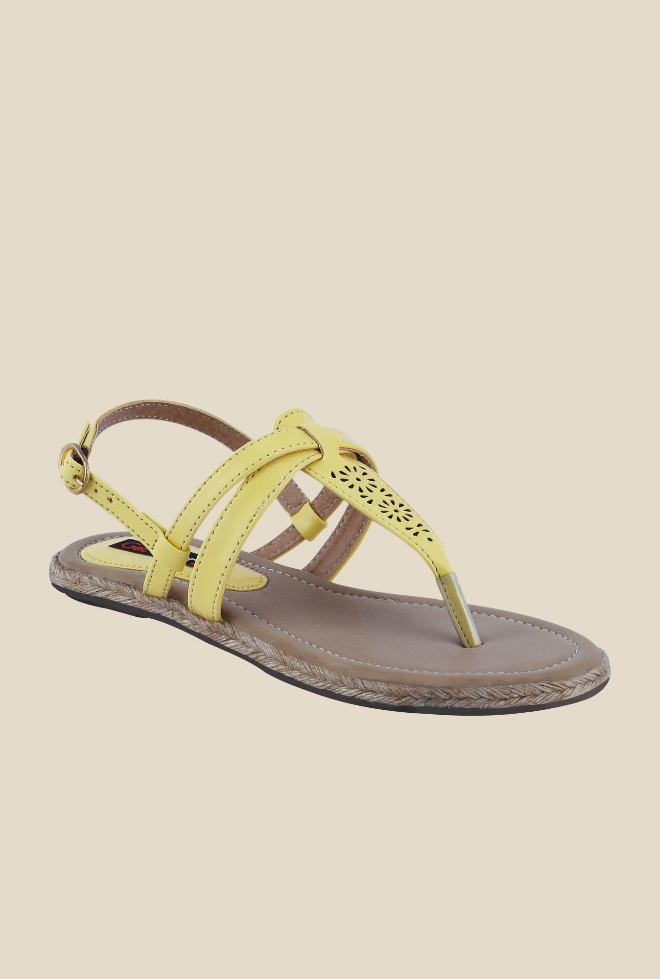 Get Glamr Knight Yellow Ankle Strap Sandals