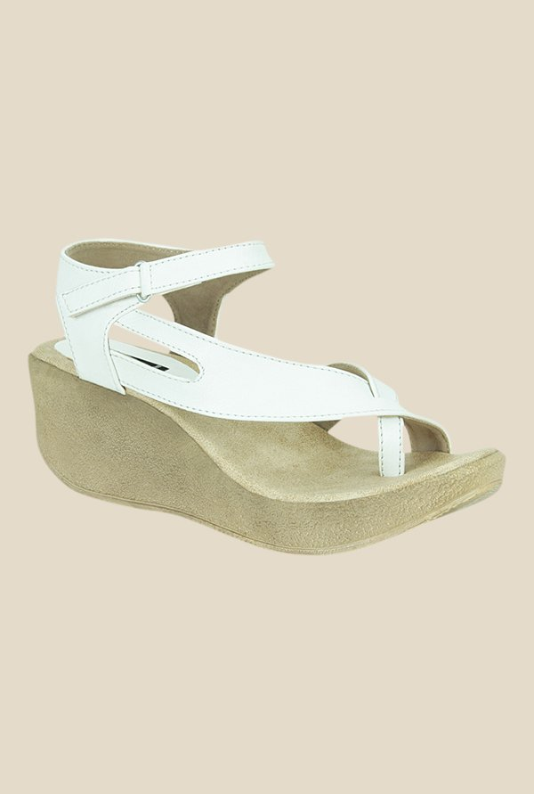 Get Glamr Sweeney White Ankle Strap Wedges