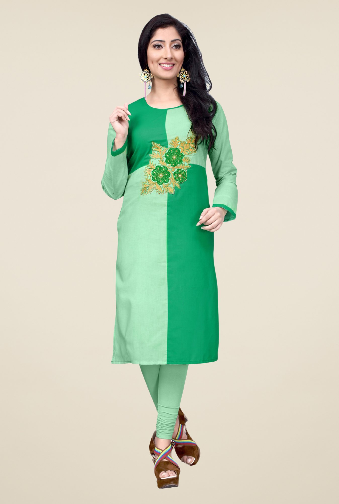 Occeanus Green Embroidered Full Sleeve Kurta