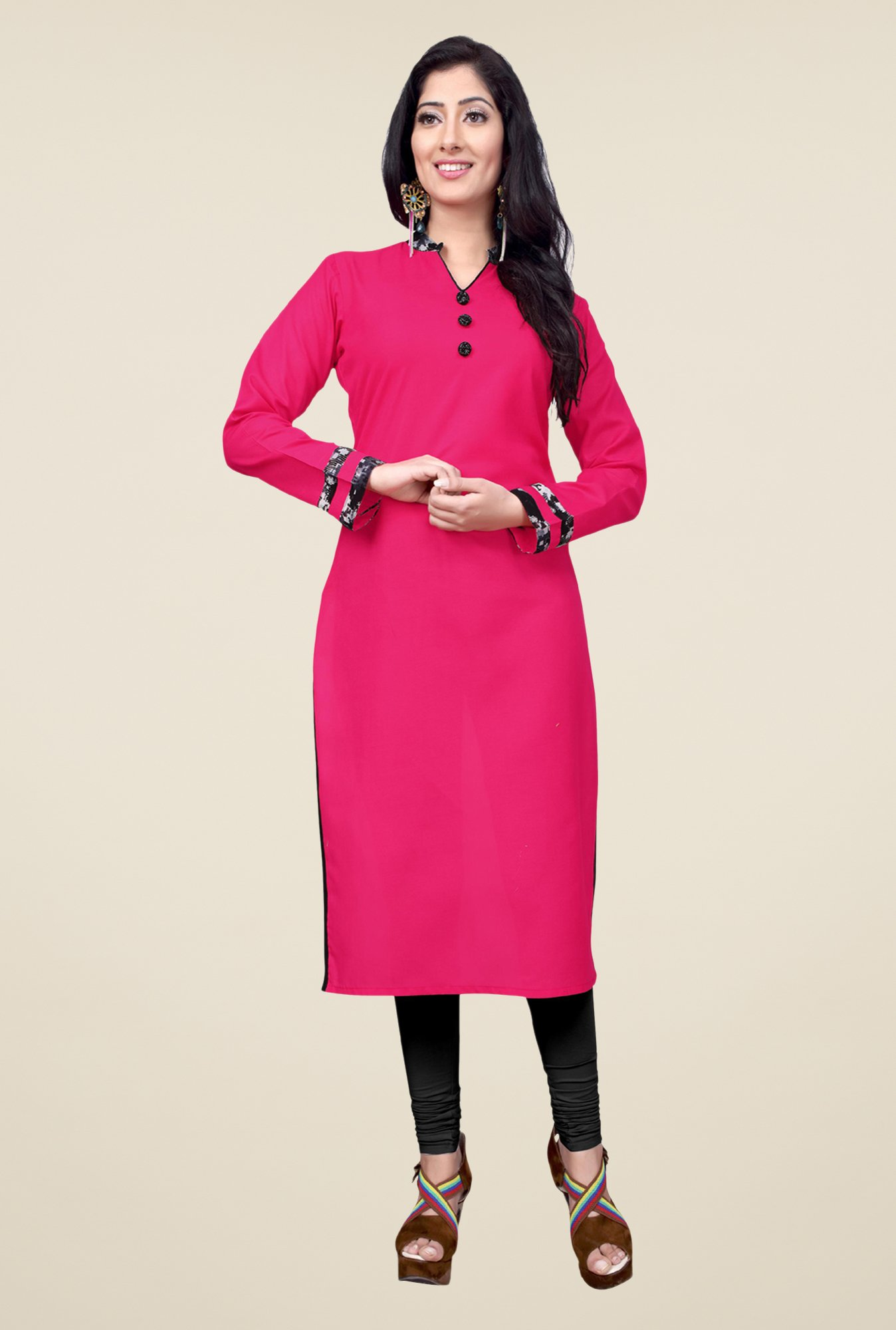 Occeanus Pink Solid Cotton Kurta