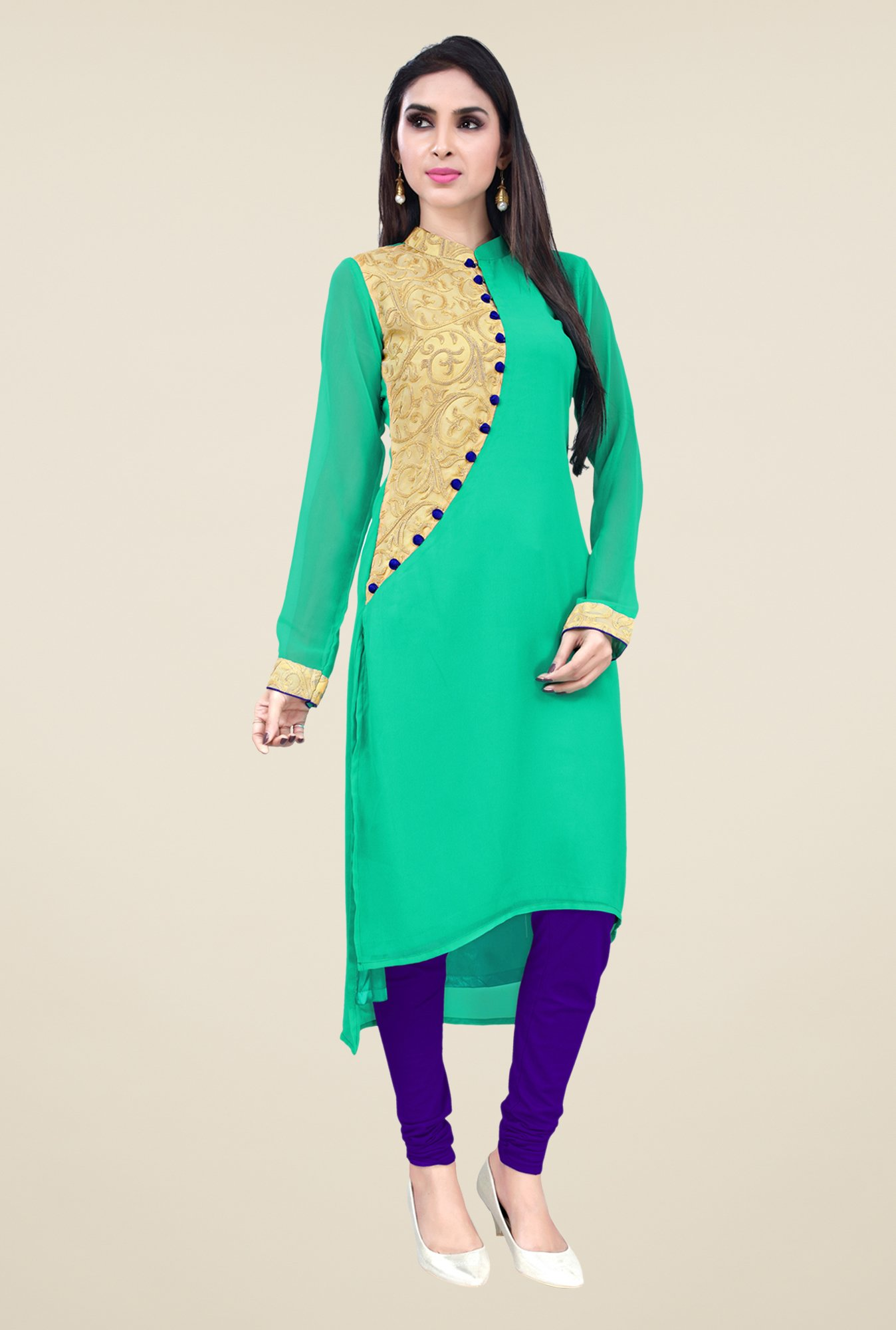 Occeanus Teal Embroidered Kurta