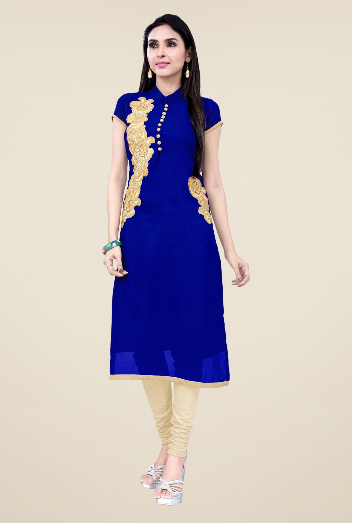 Occeanus Blue Embroidered Short Sleeve Kurta