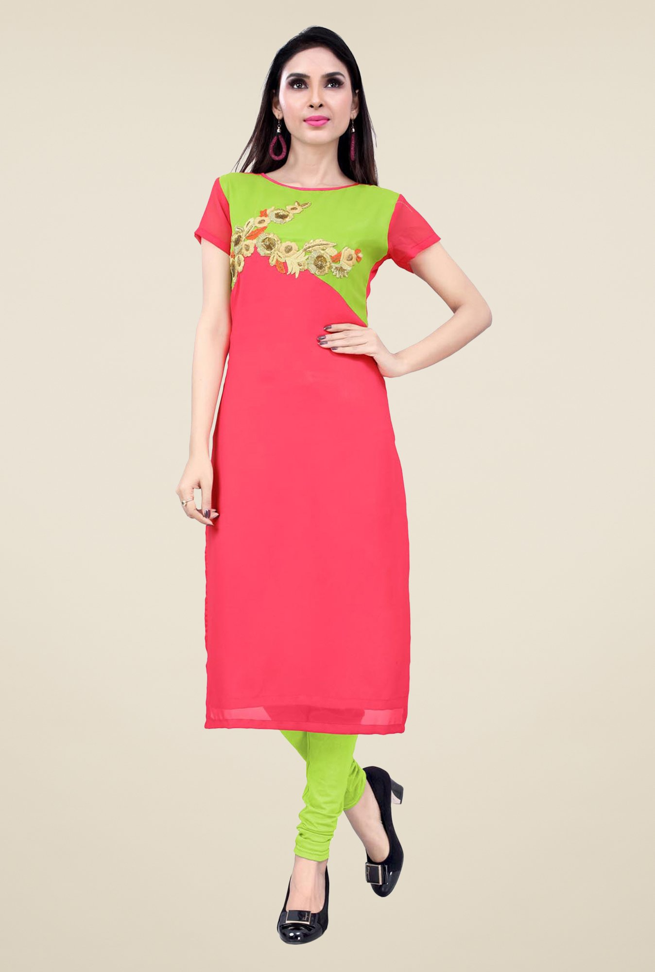 Occeanus Coral Embroidered Kurta