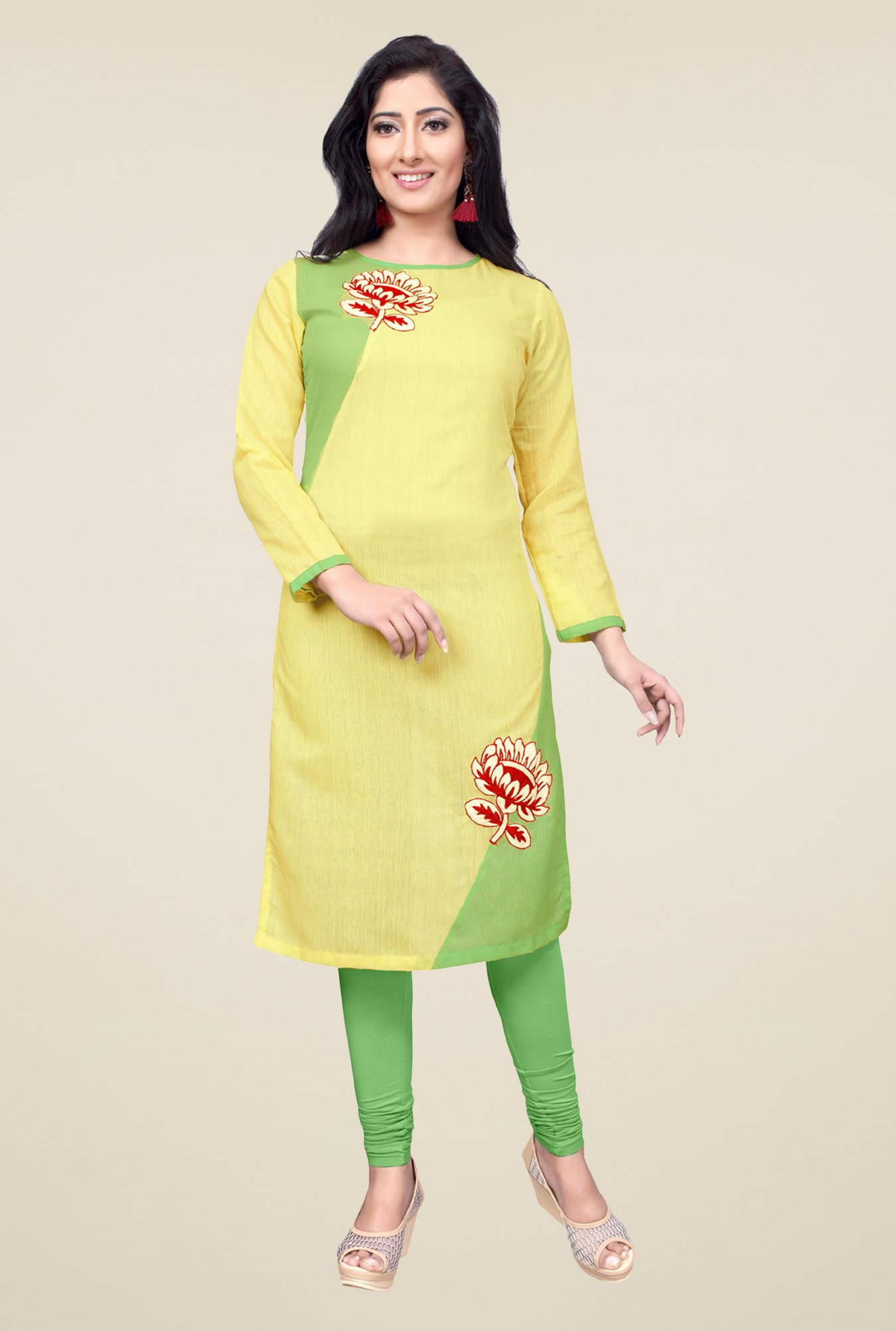 Occeanus Yellow Embroidered Kurta