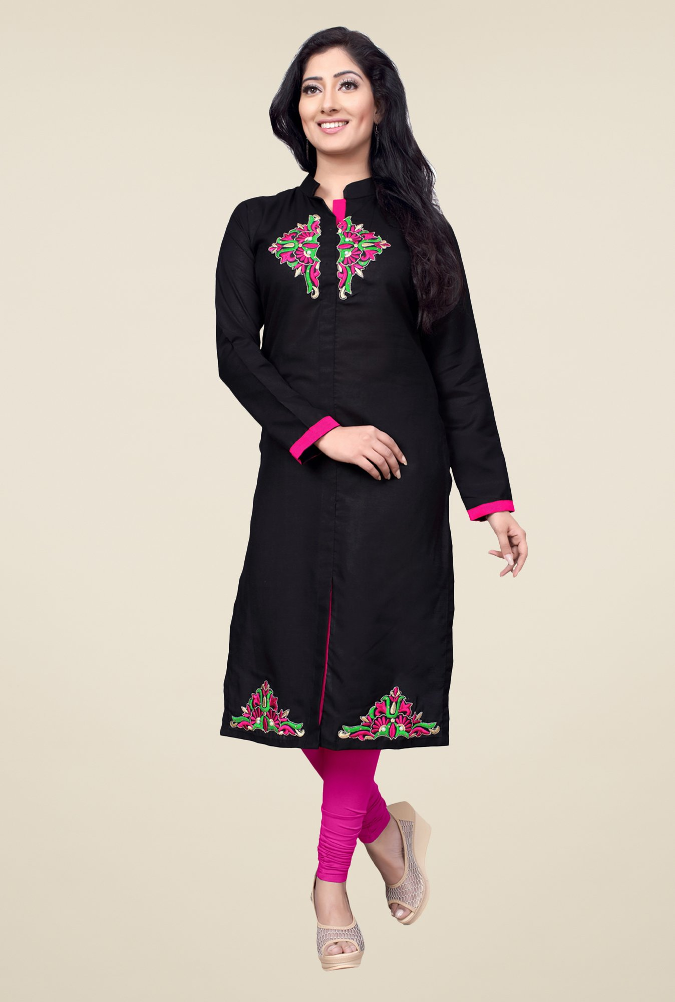 Occeanus Black Embroidered Cotton Kurta