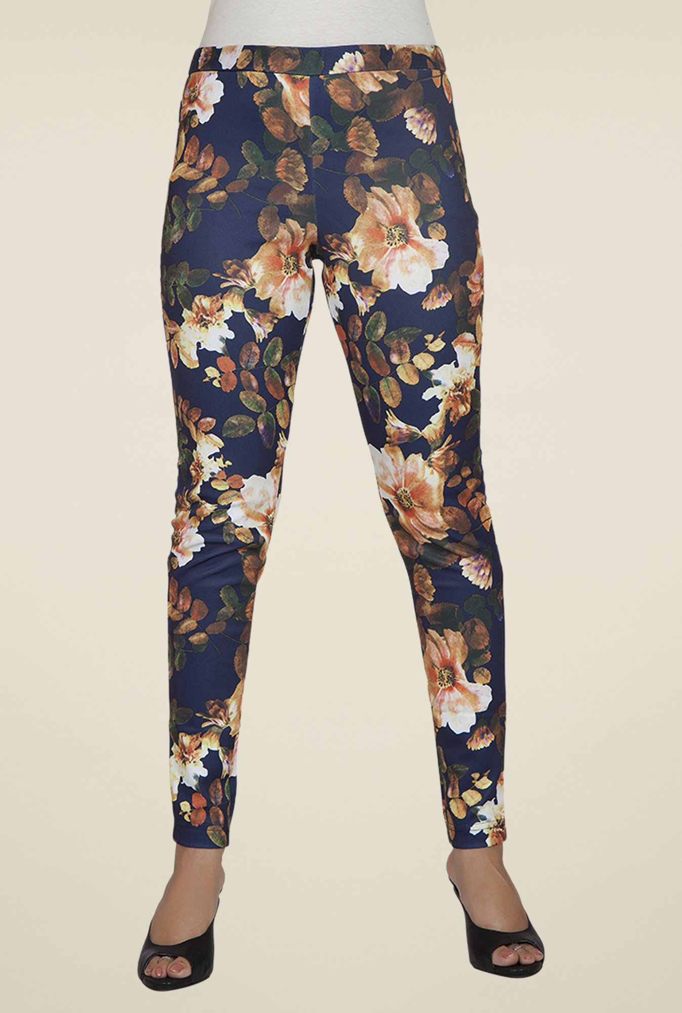 Desi Belle Navy Floral Jeggings