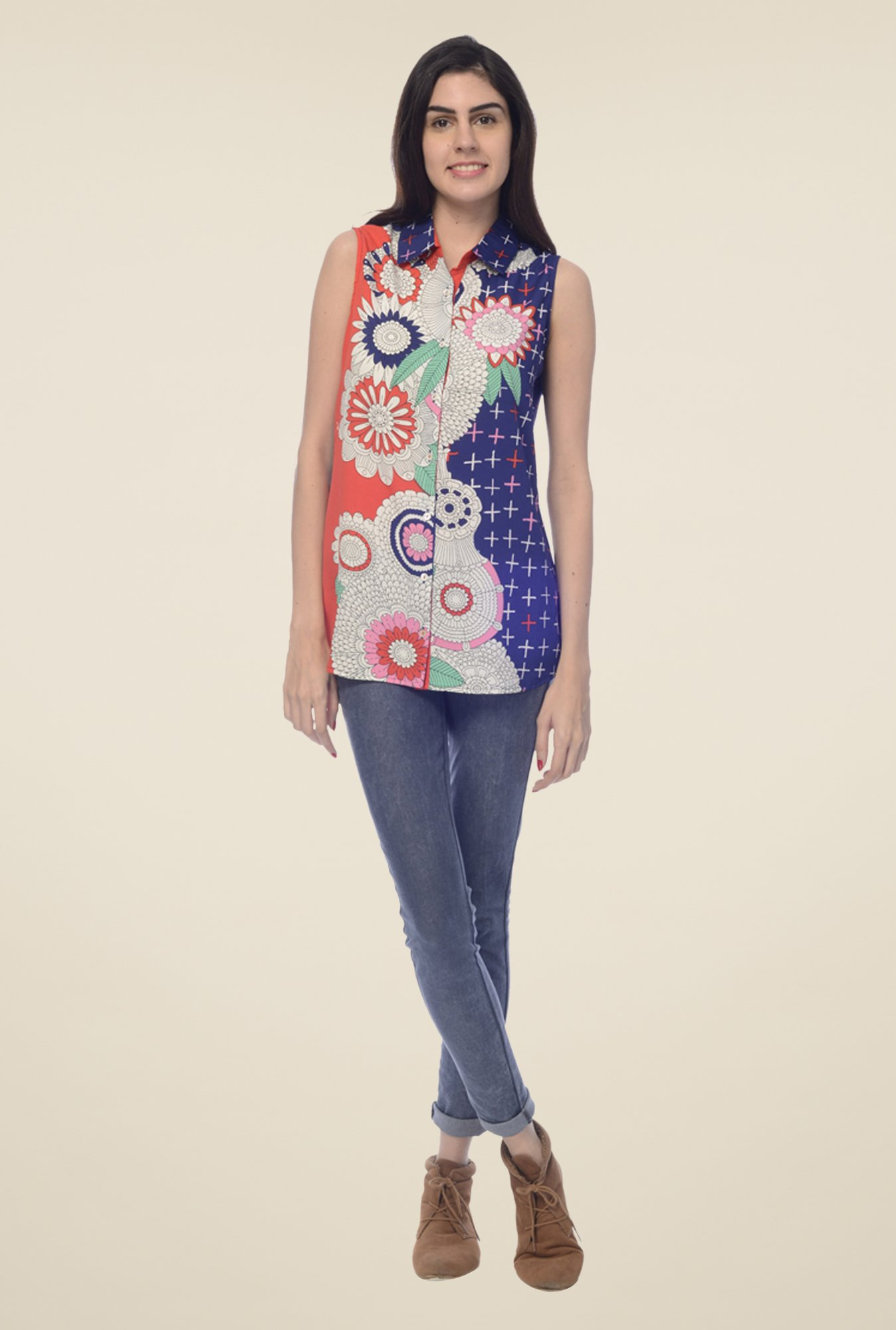 Desi Belle Multicolor Floral Print Shirt