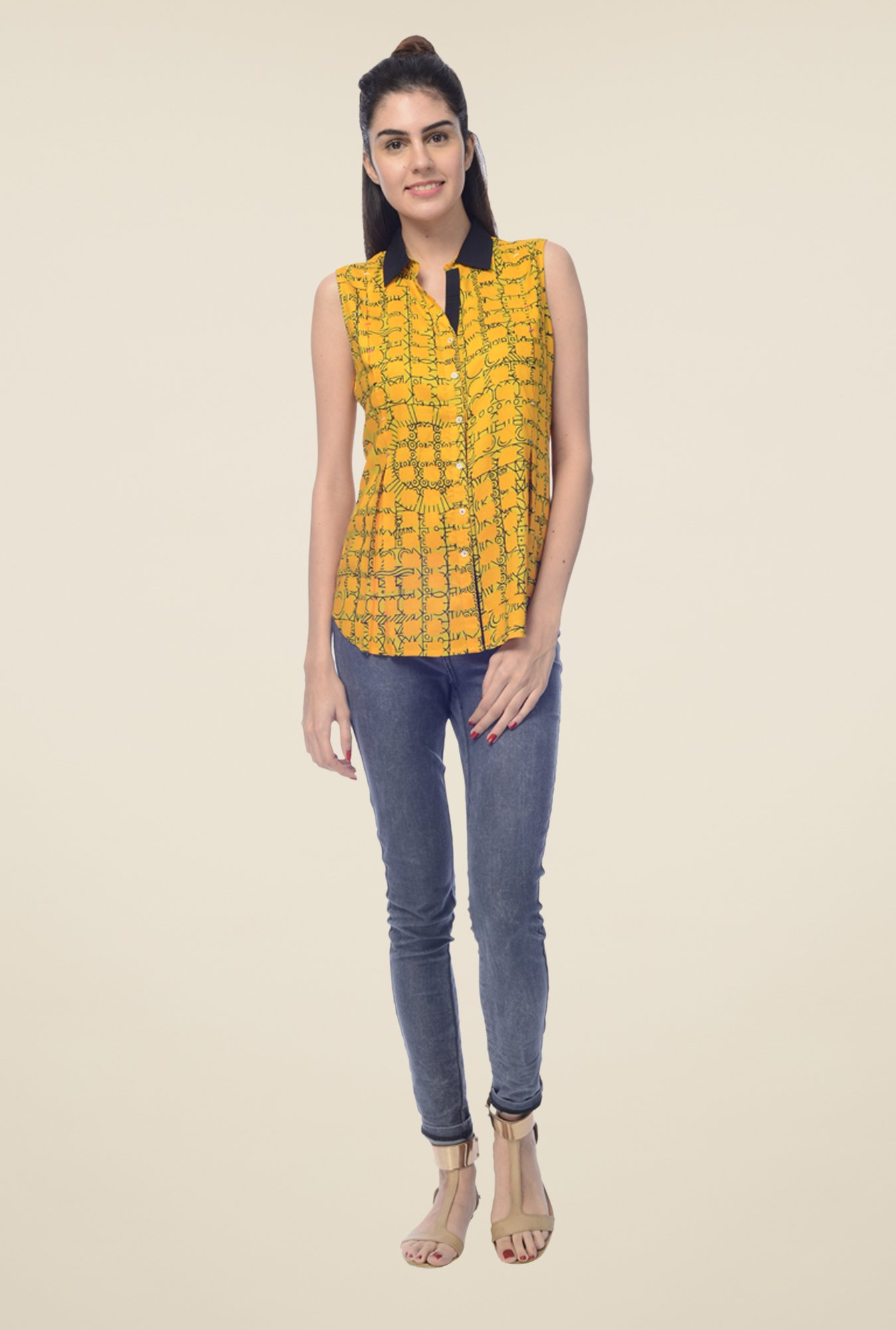 Desi Belle Yellow Printed Shirt