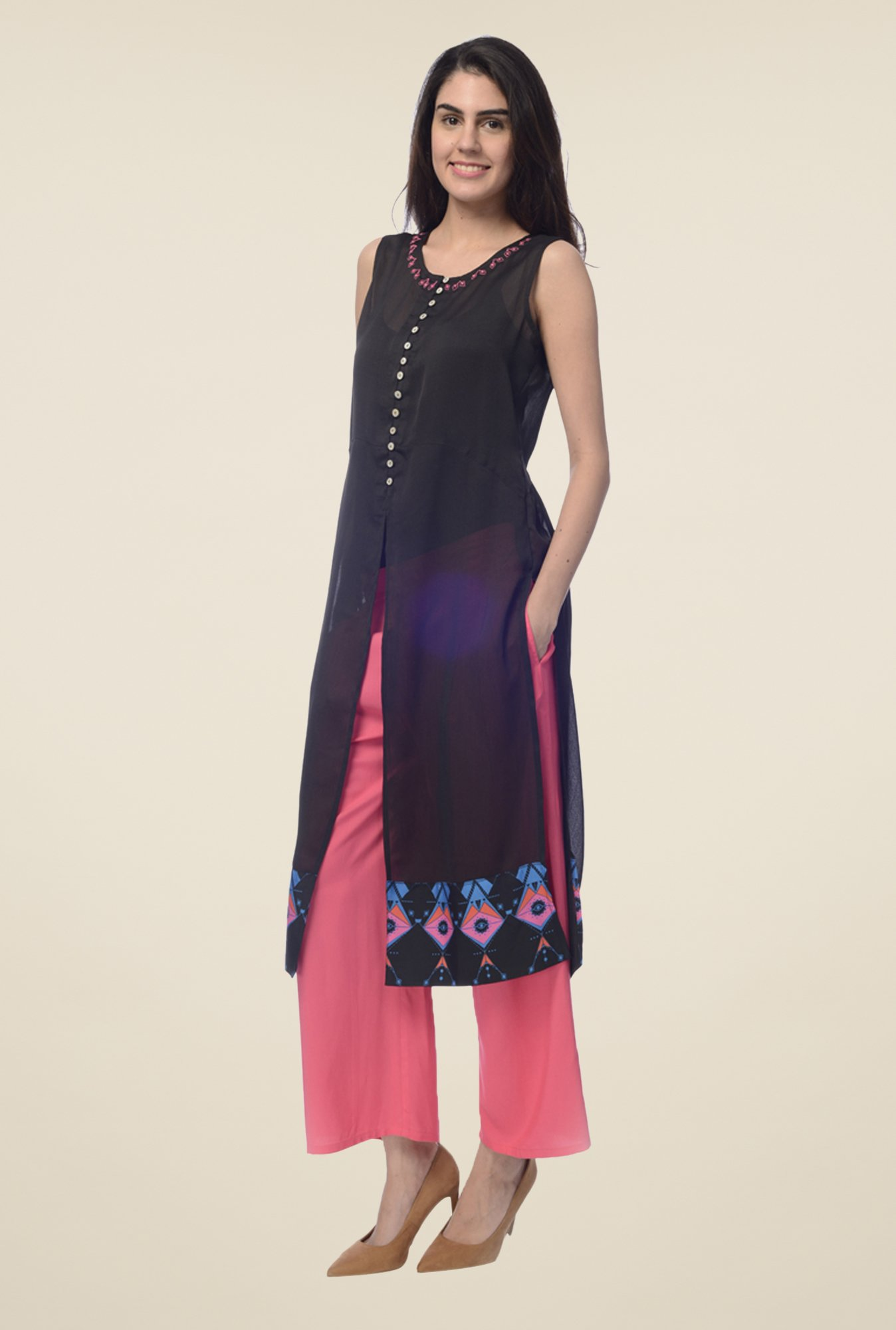 Desi Belle Black Printed Kurta