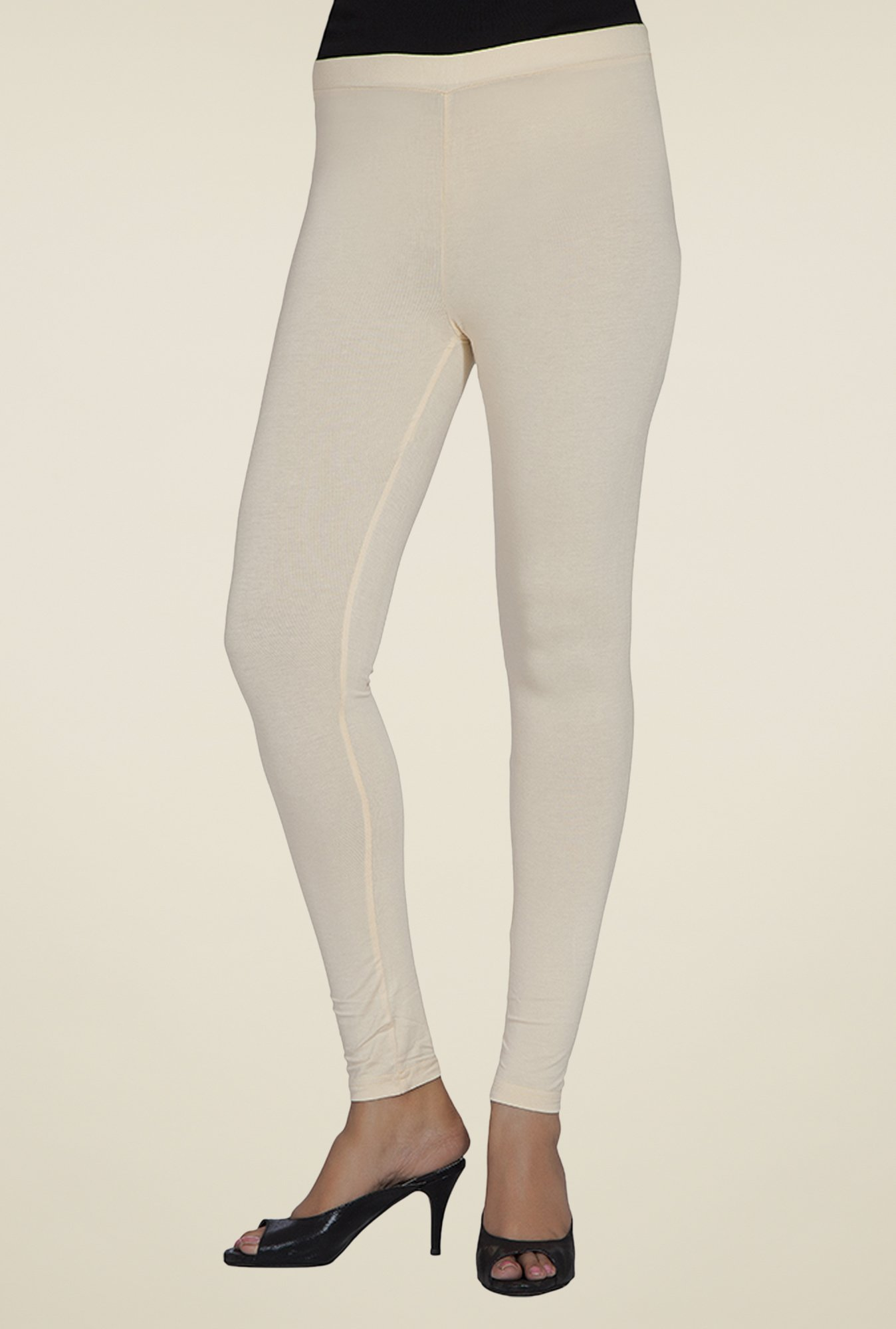 Desi Belle Beige Solid Leggings
