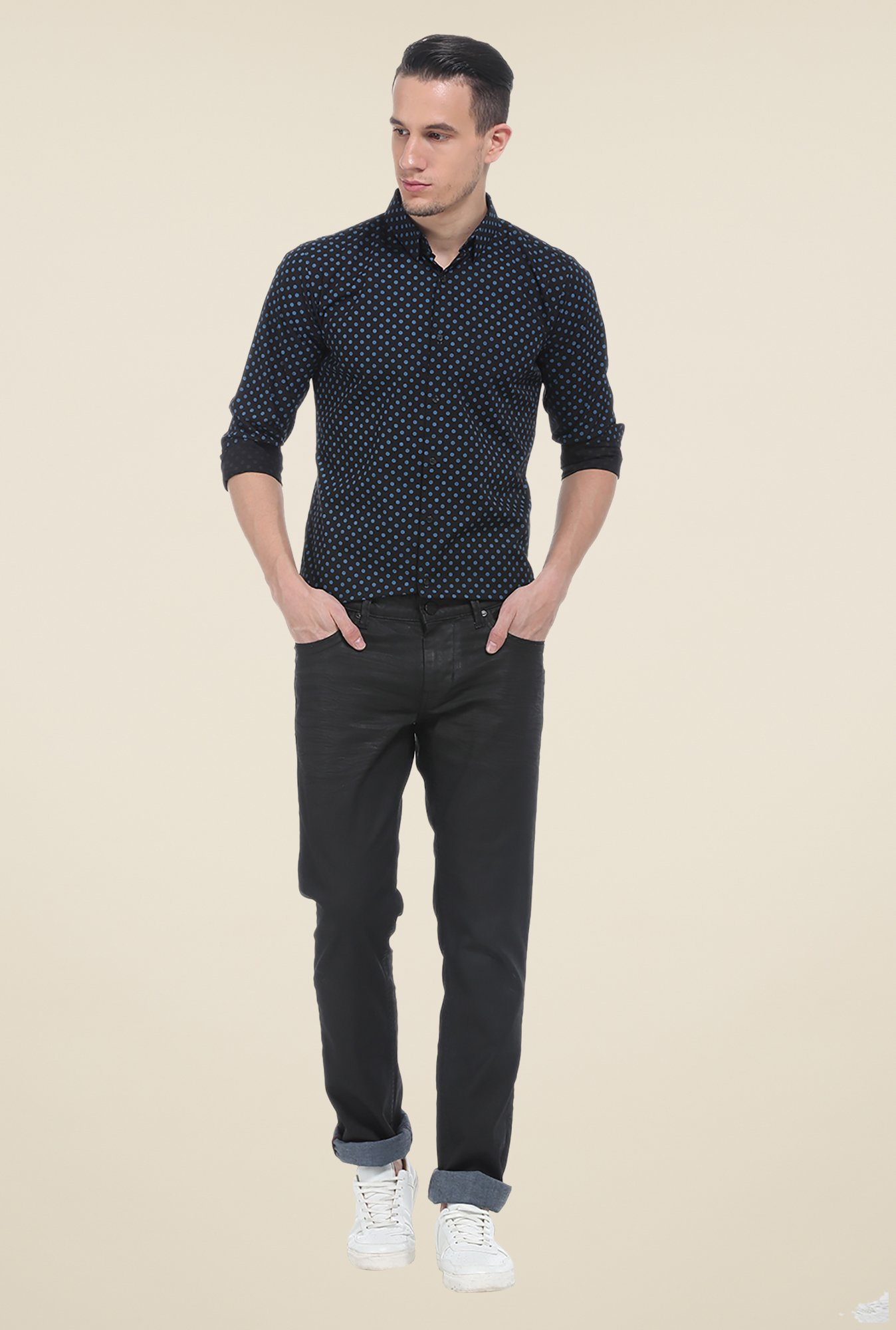 Basics Black Printed Cotton Shirt