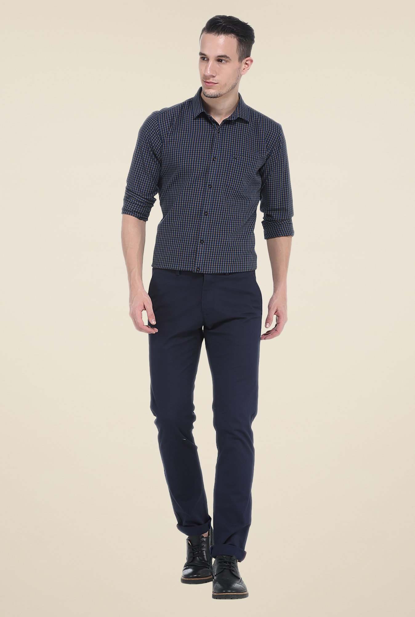 Basics Navy Full Sleeve Cotton Shirt