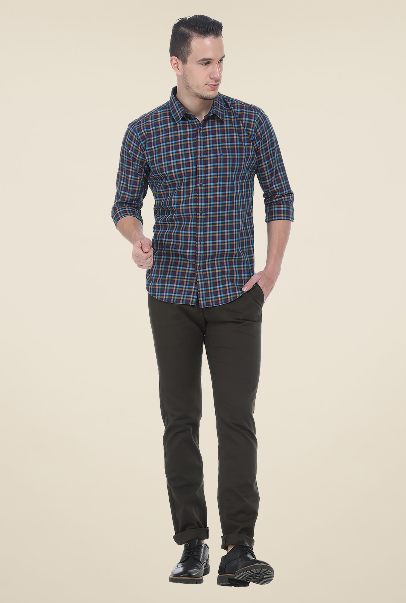 Basics Brown Checks Slim Fit Shirt