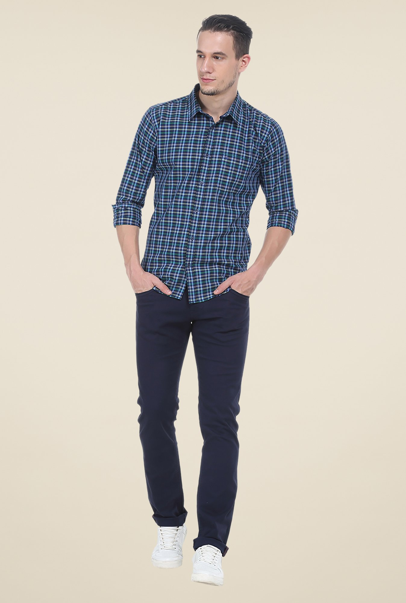Basics Blue Checks Slim Fit Shirt
