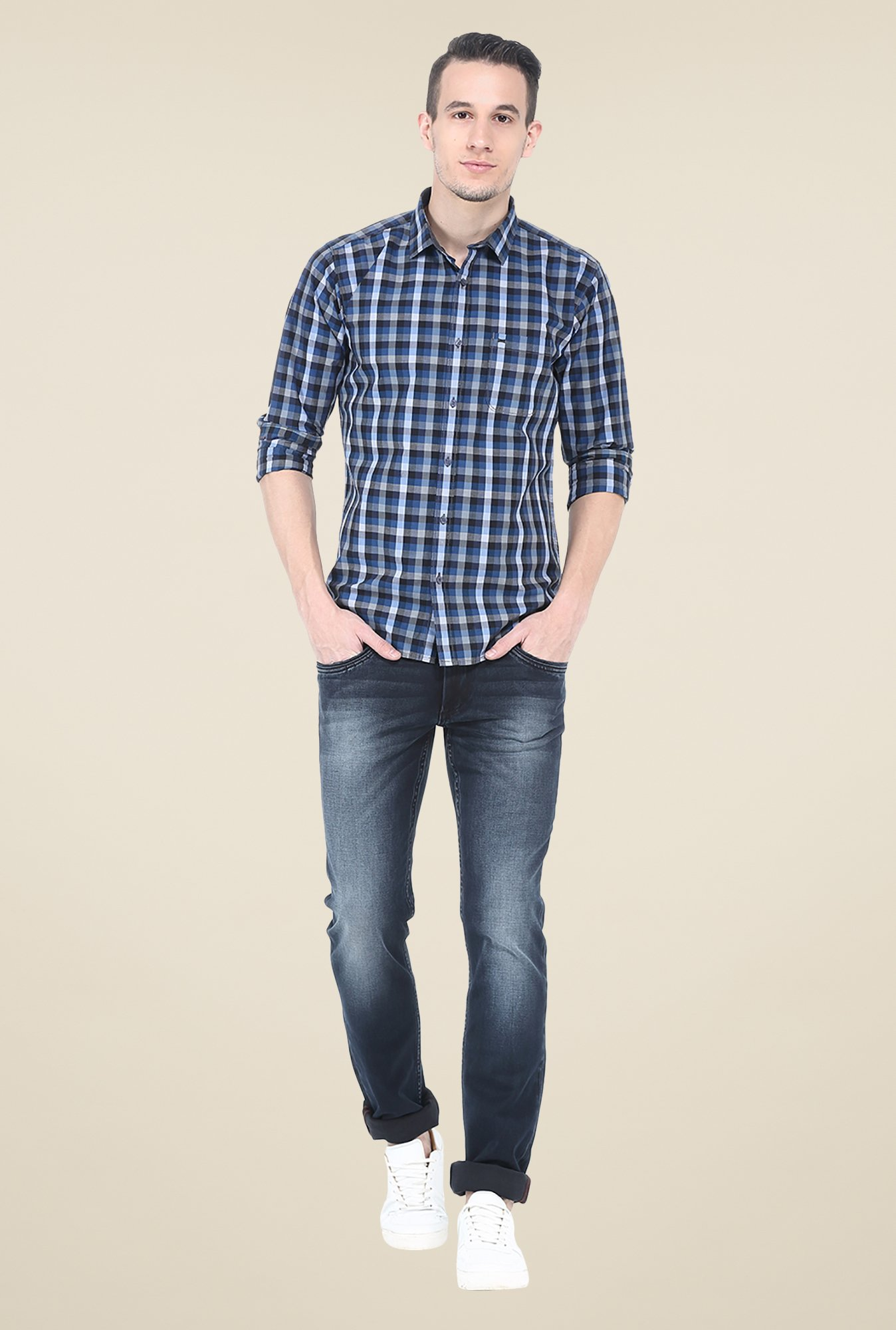 Basics Blue Checks Cotton Shirt