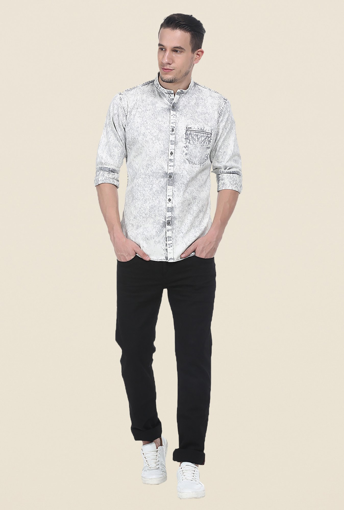 Basics Grey Textured Slim Fit Shirt