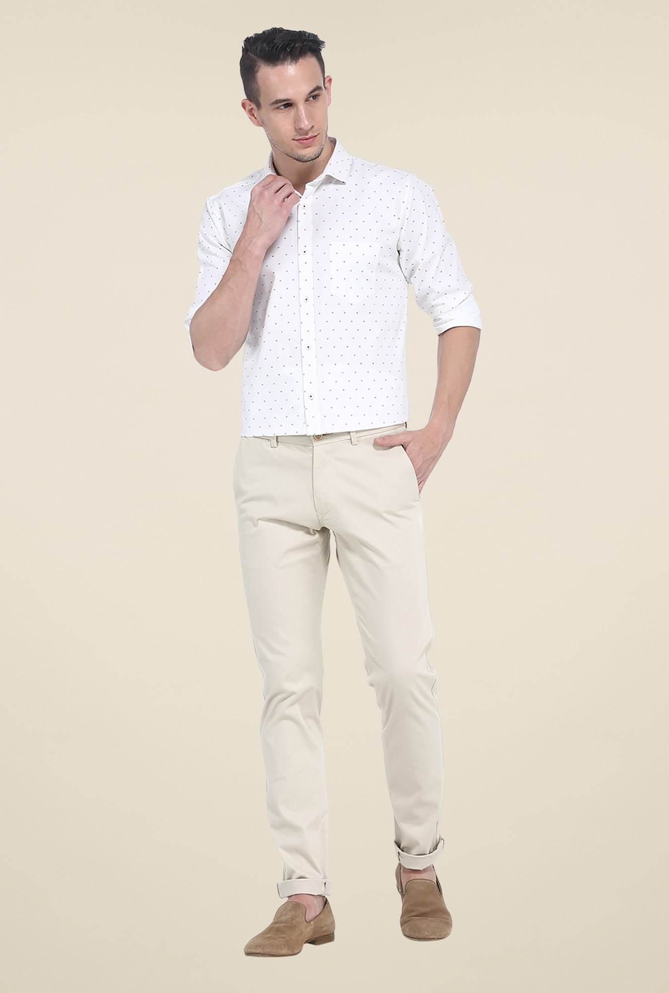 Basics White Printed Slim Fit Shirt