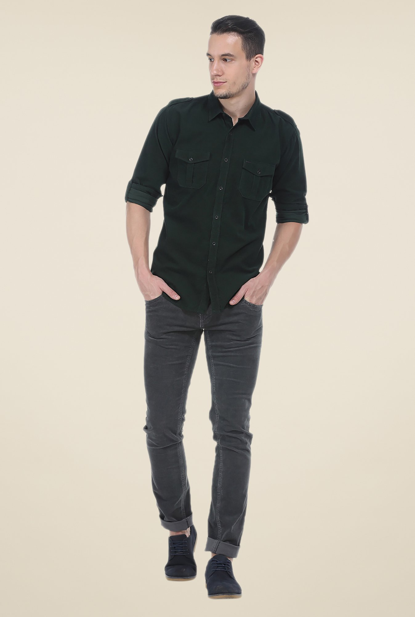 Basics Green Solid Slim Fit Cotton Shirt