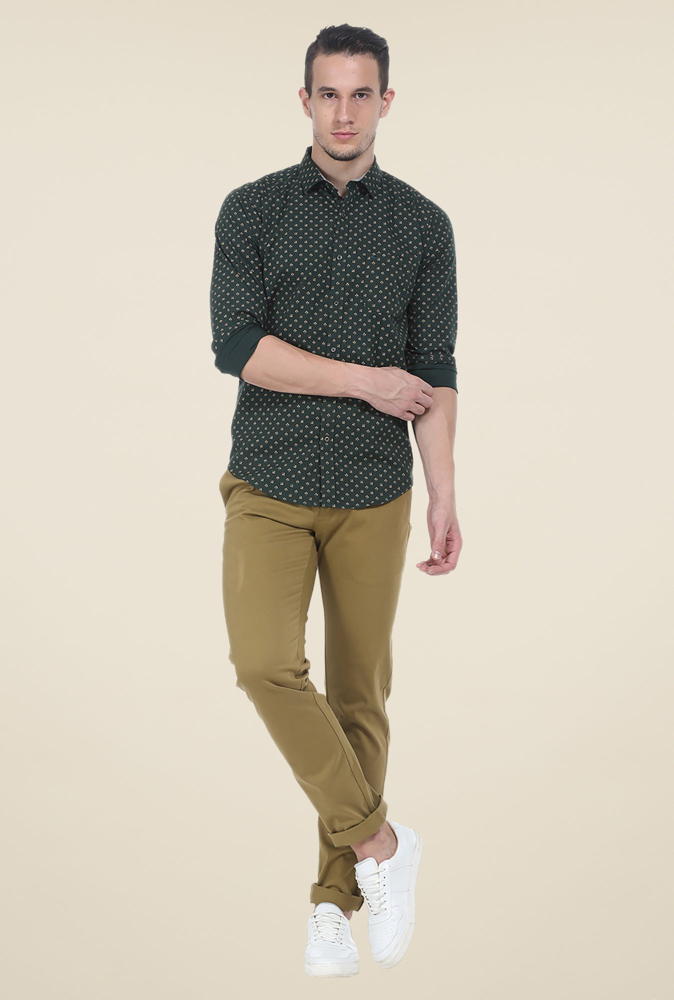 Basics Green Printed Shirt