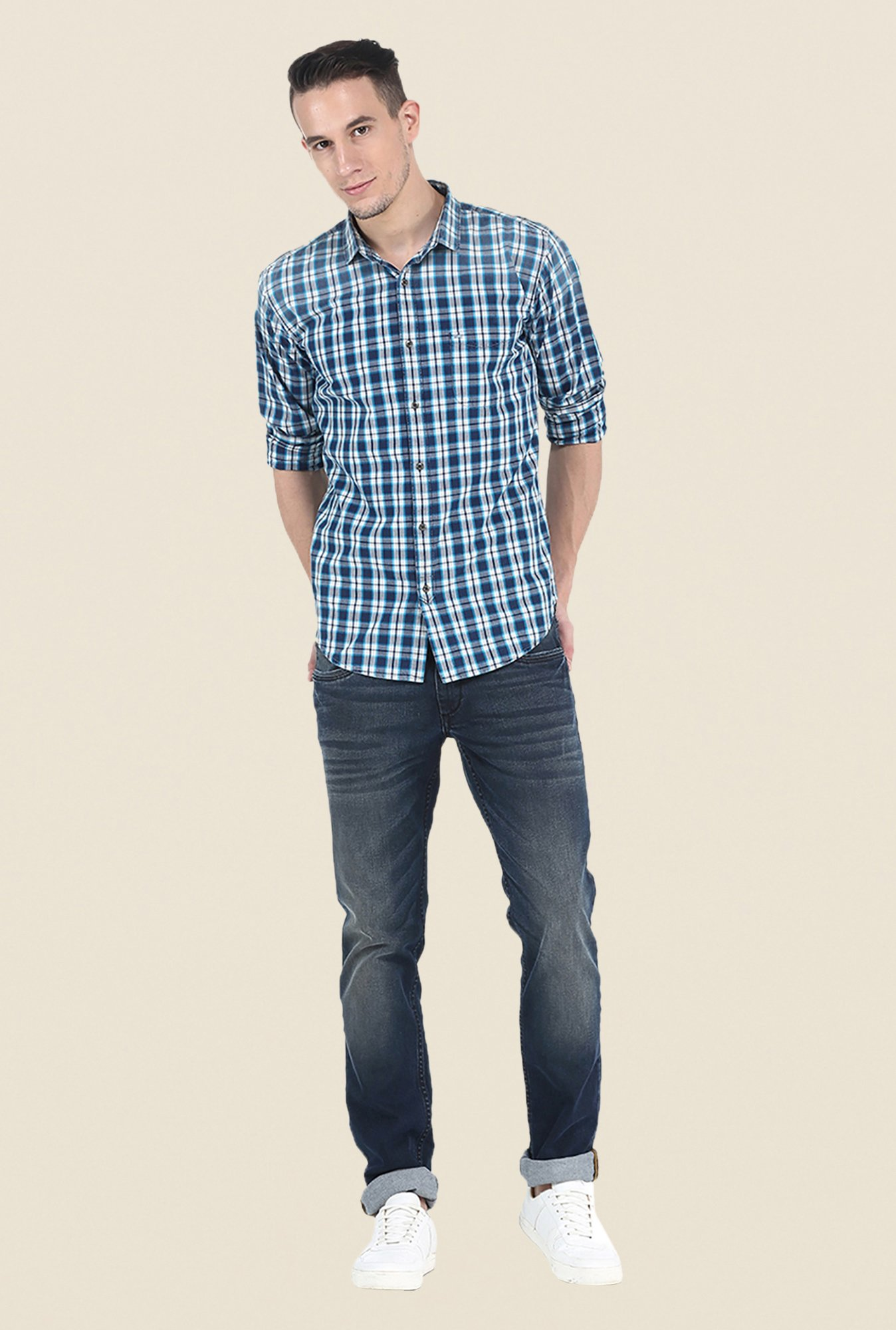 Basics Navy Checks Slim Fit Full Sleeve Shirt