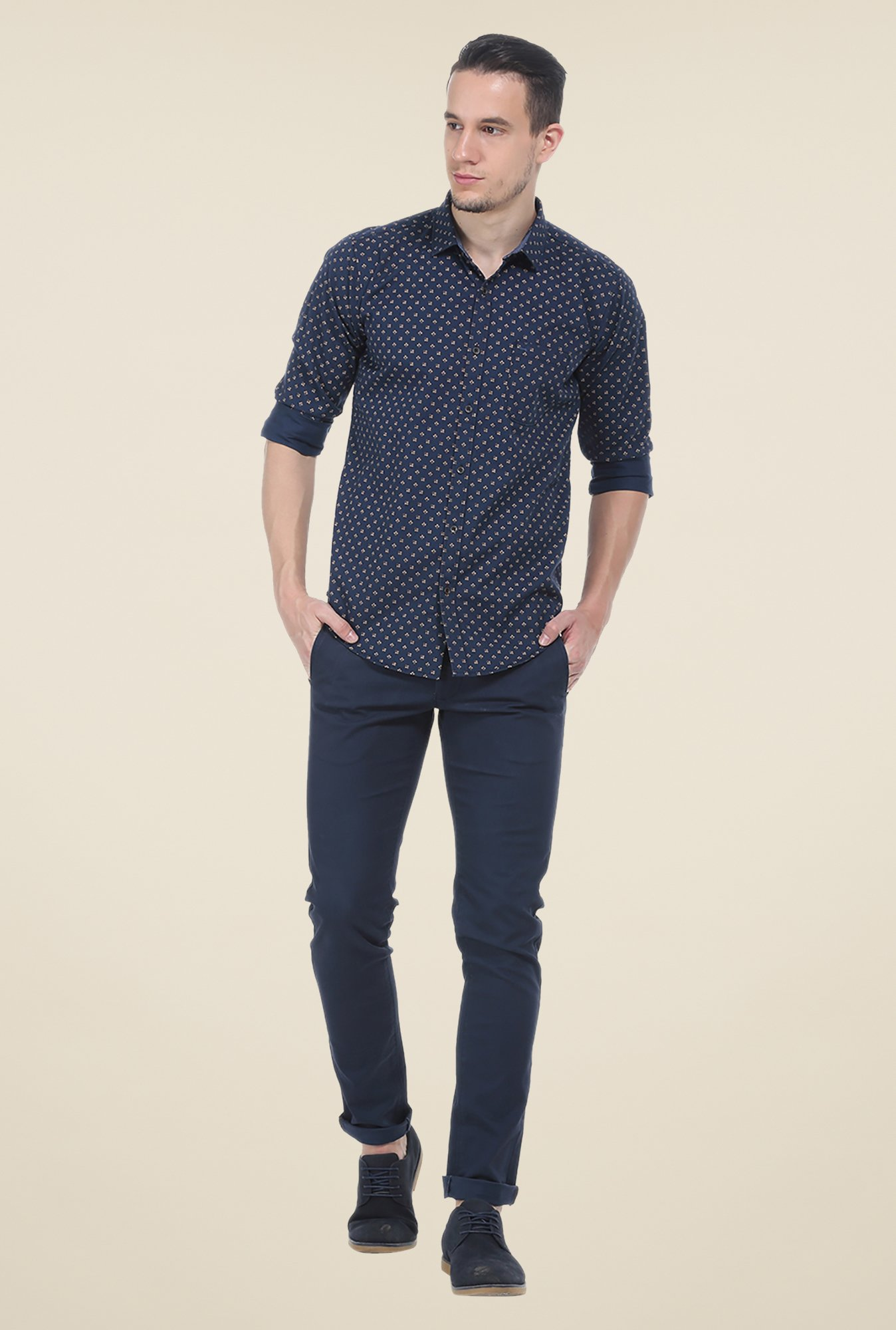 Basics Blue Printed Slim Fit Full Sleeve Shirt