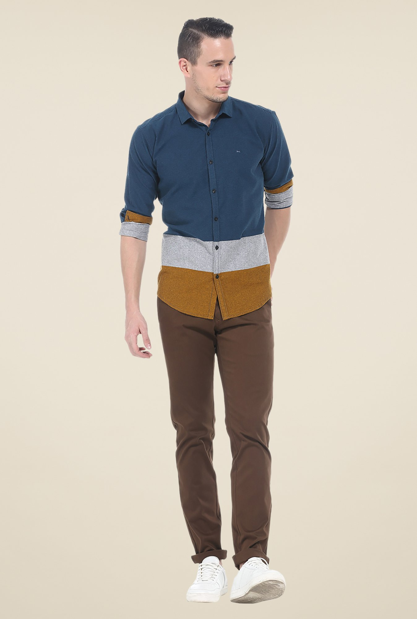 Basics Multicolor Solid Slim Fit Cotton Shirt