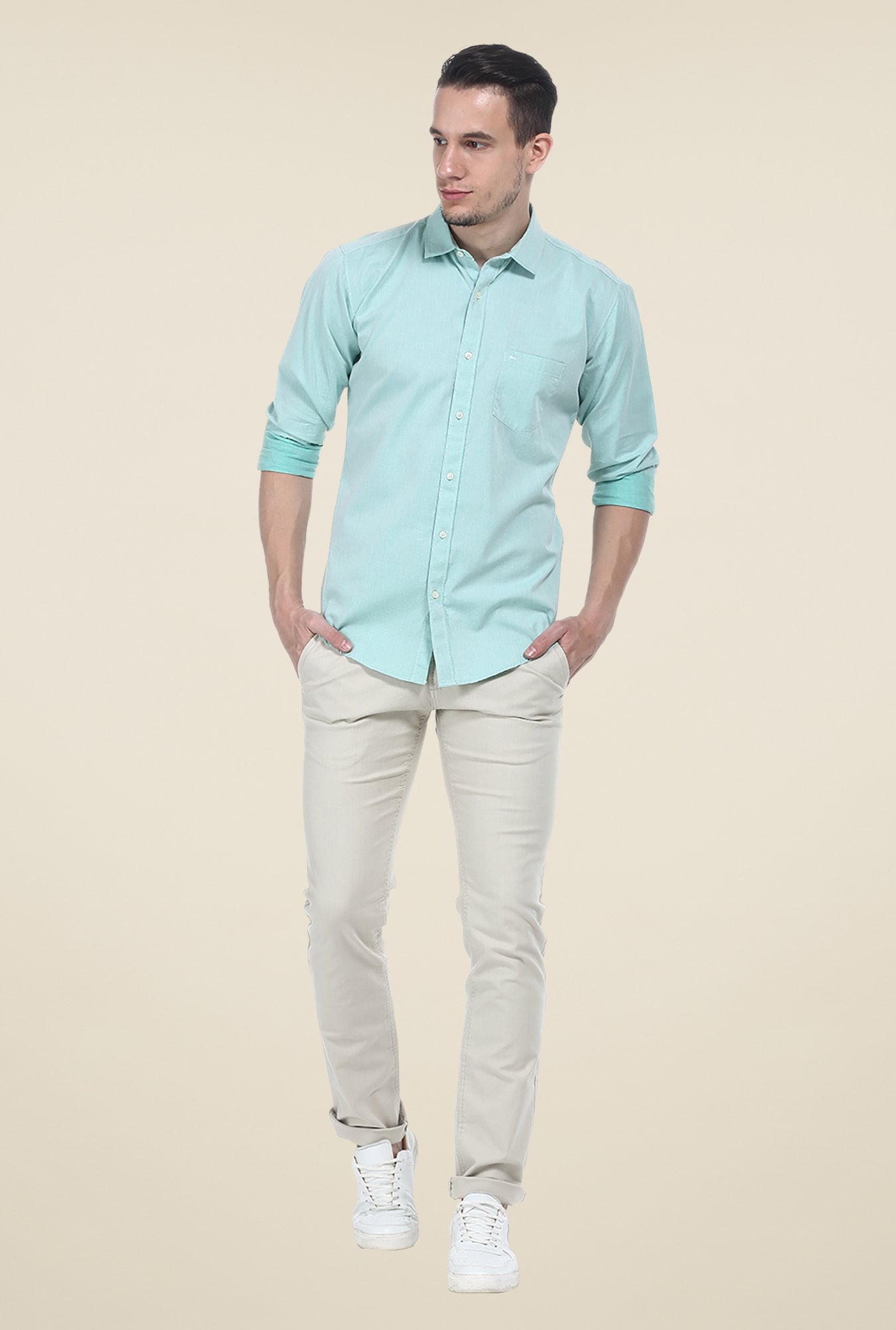 Basics Green Solid Full Sleeve Shirt