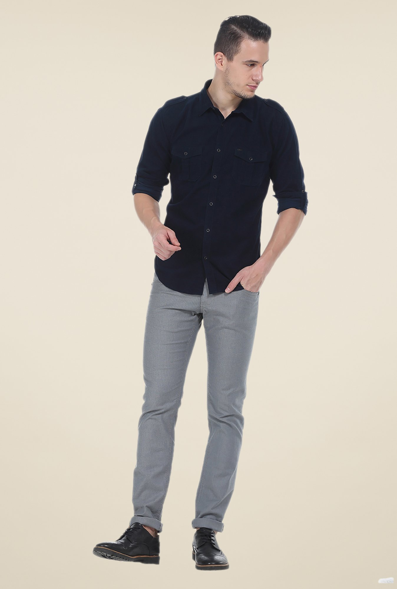 Basics Navy Solid Slim Fit Shirt
