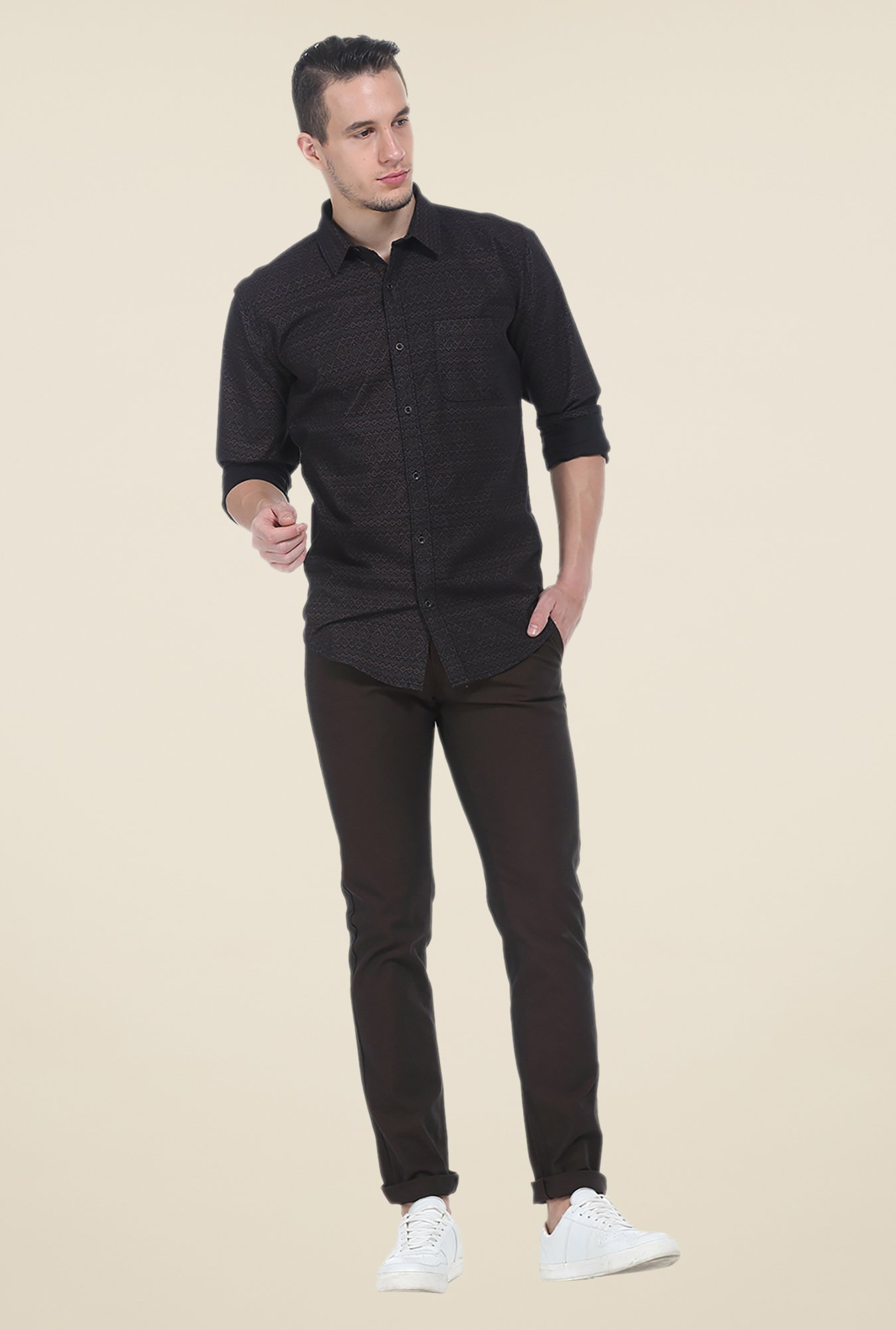 Basics Brown Printed Slim Fit Shirt