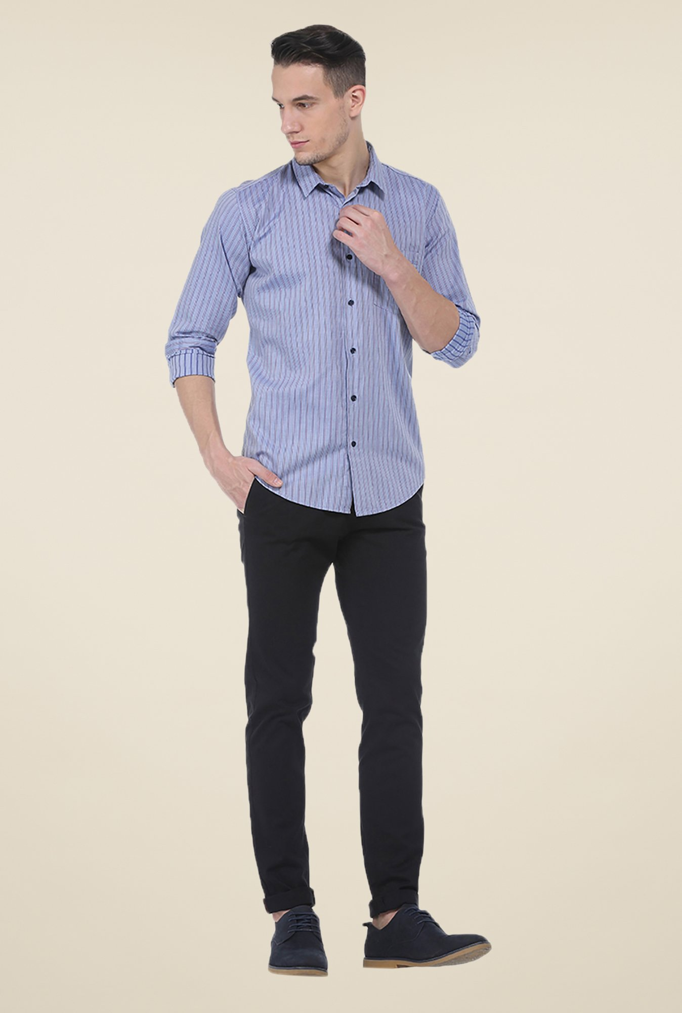 Basics Blue Striped Slim Fit Shirt