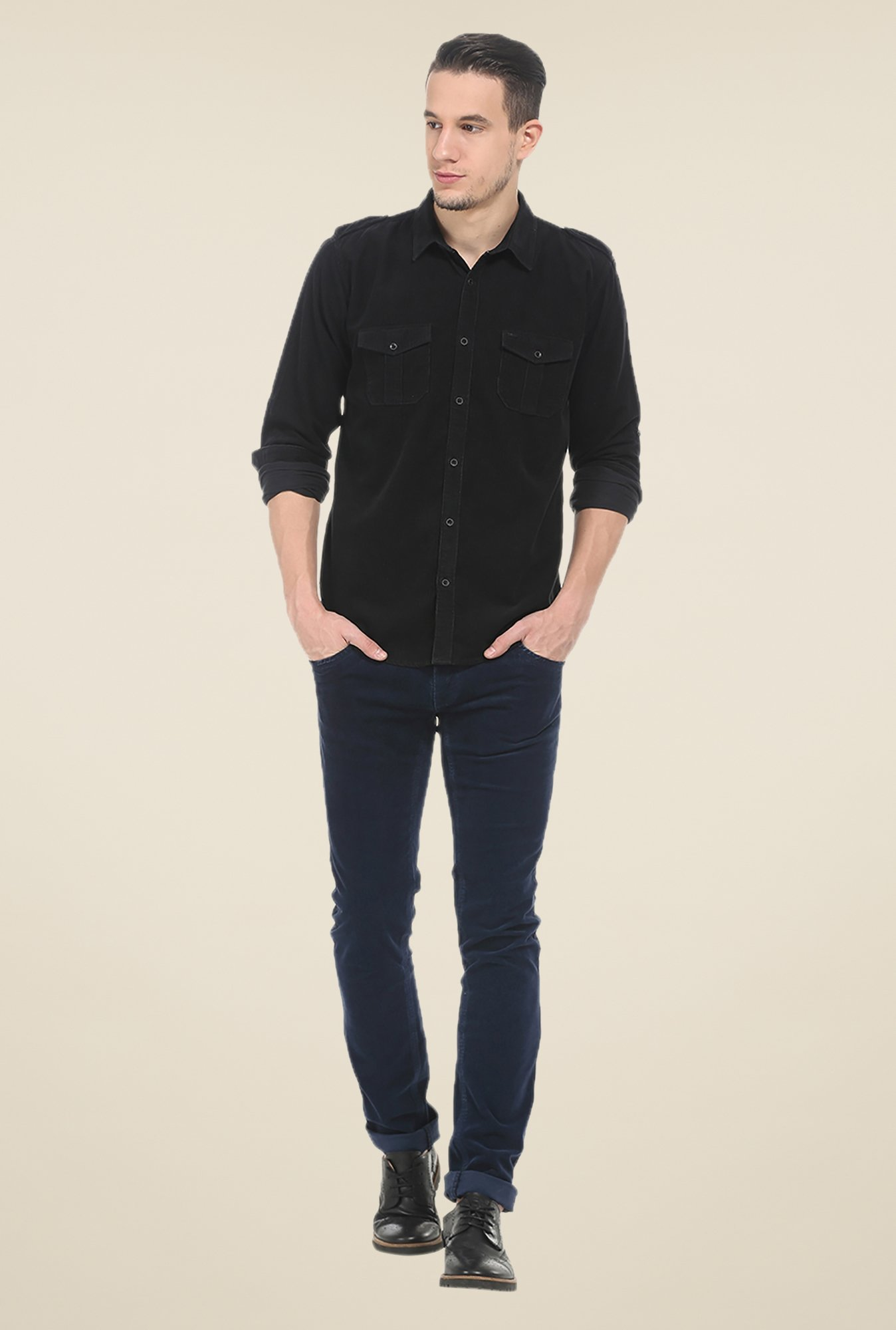 Basics Black Solid Slim Fit Cotton Shirt