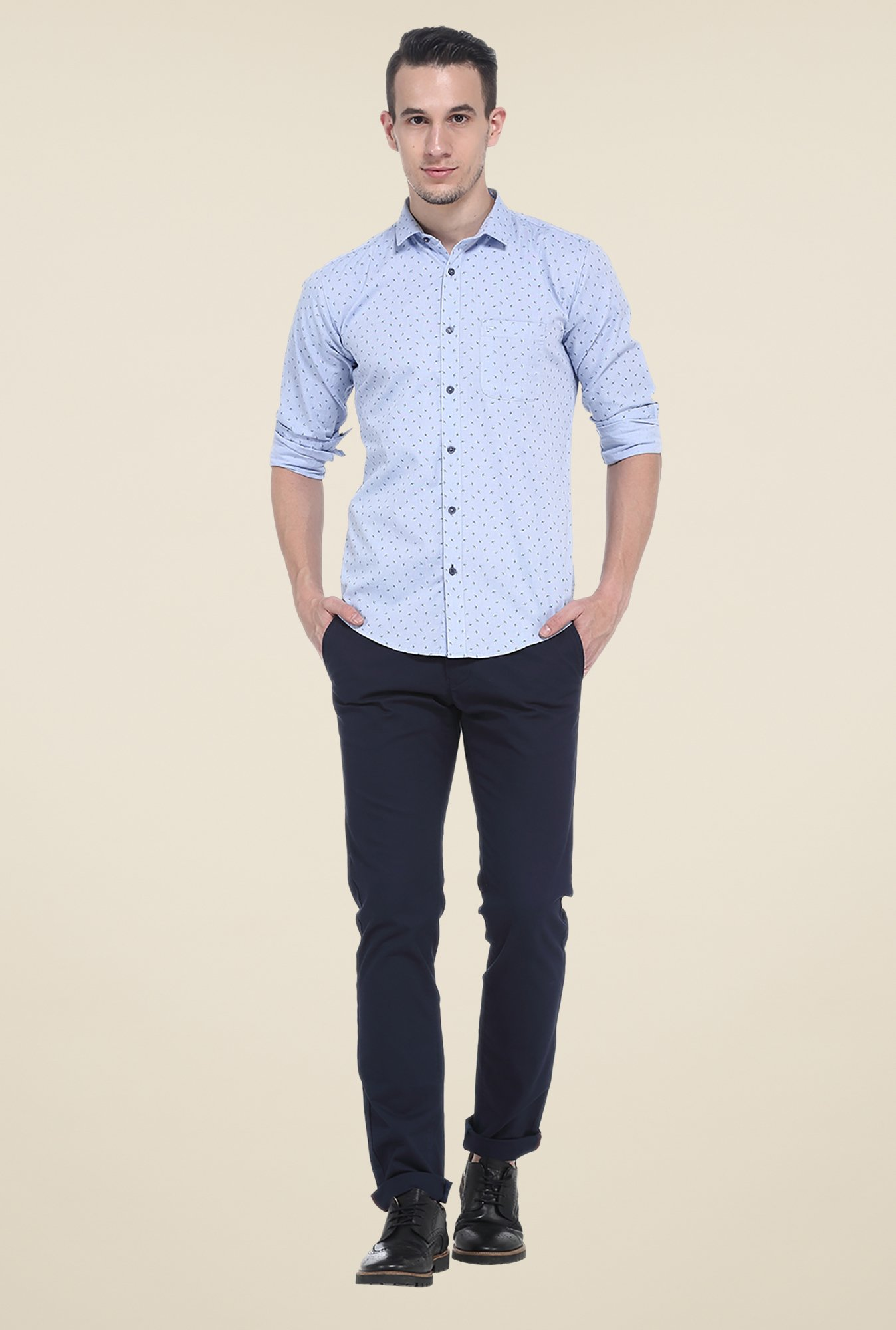 Basics Blue Printed Cotton Shirt