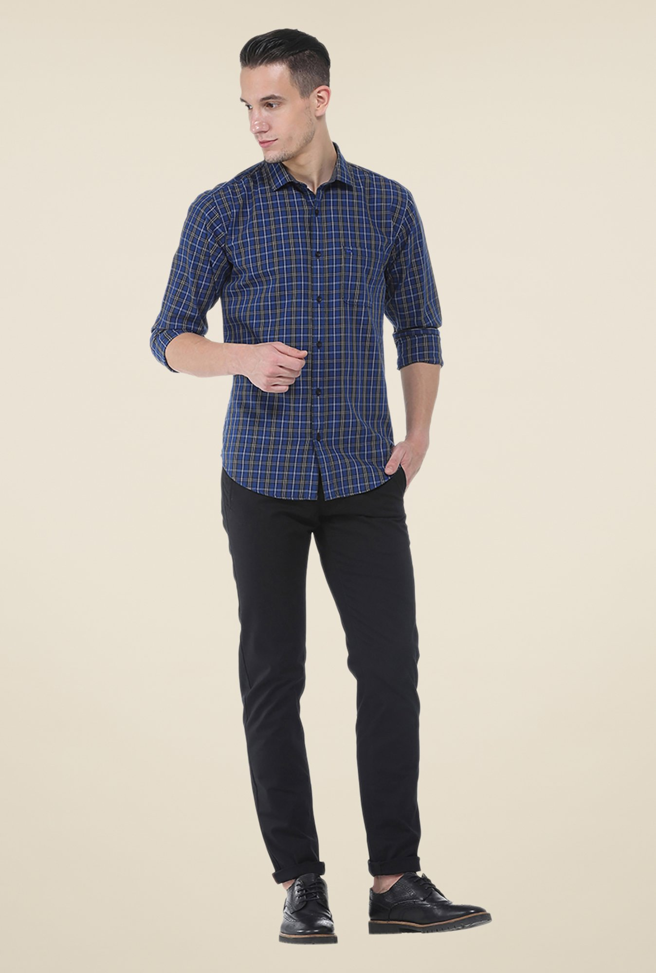 Basics Dark Blue Checks Slim Fit Cotton Shirt