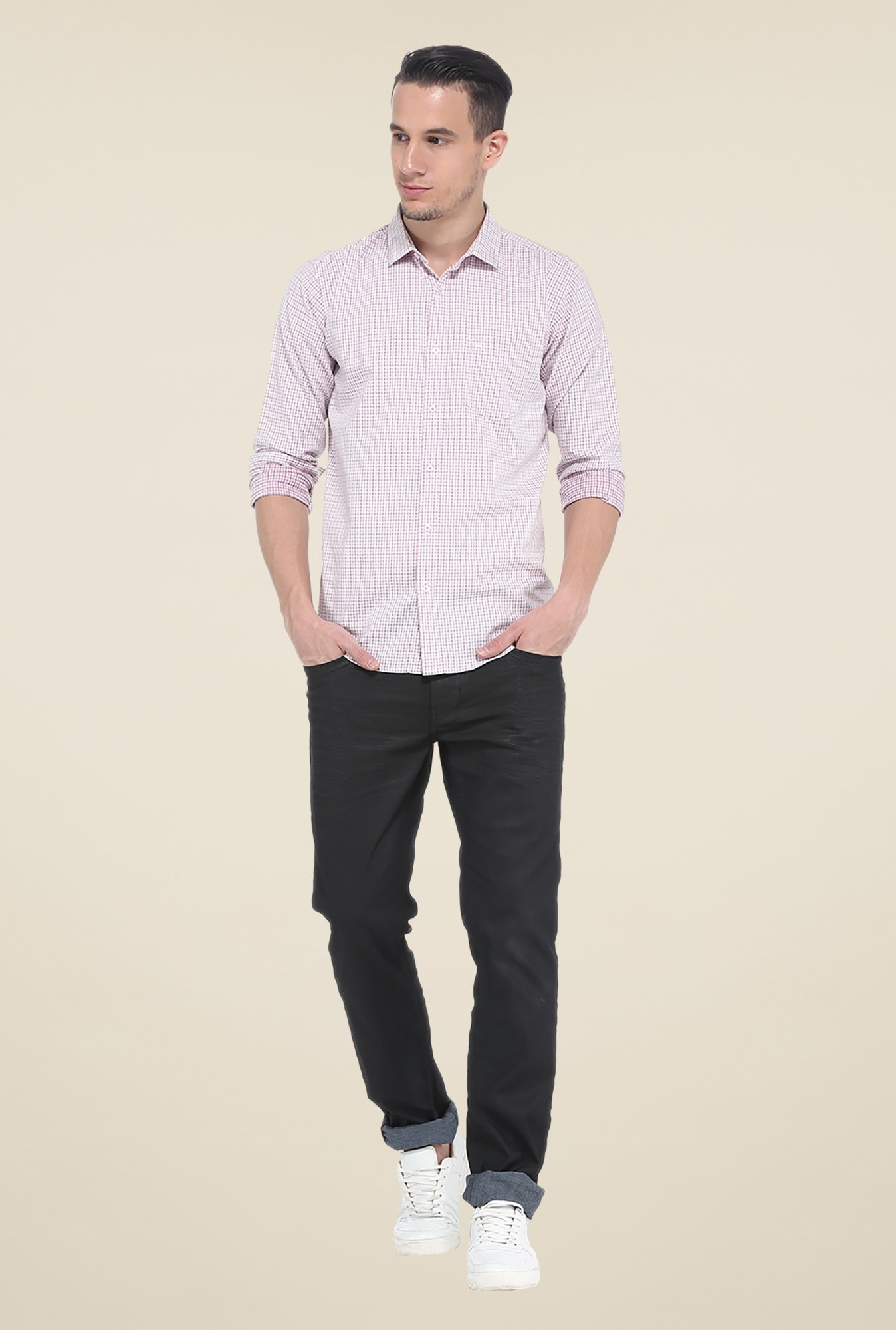 Basics Purple Checks Slim Fit Cotton Shirt