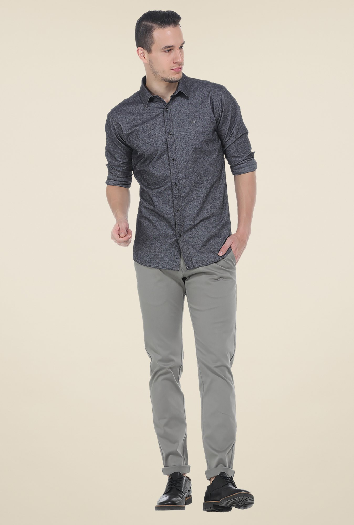 Basics Dark Grey Textured Shirt