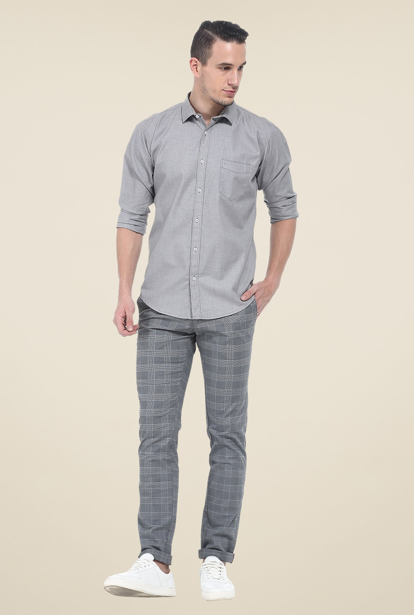 Basics Grey Textured Cotton Shirt