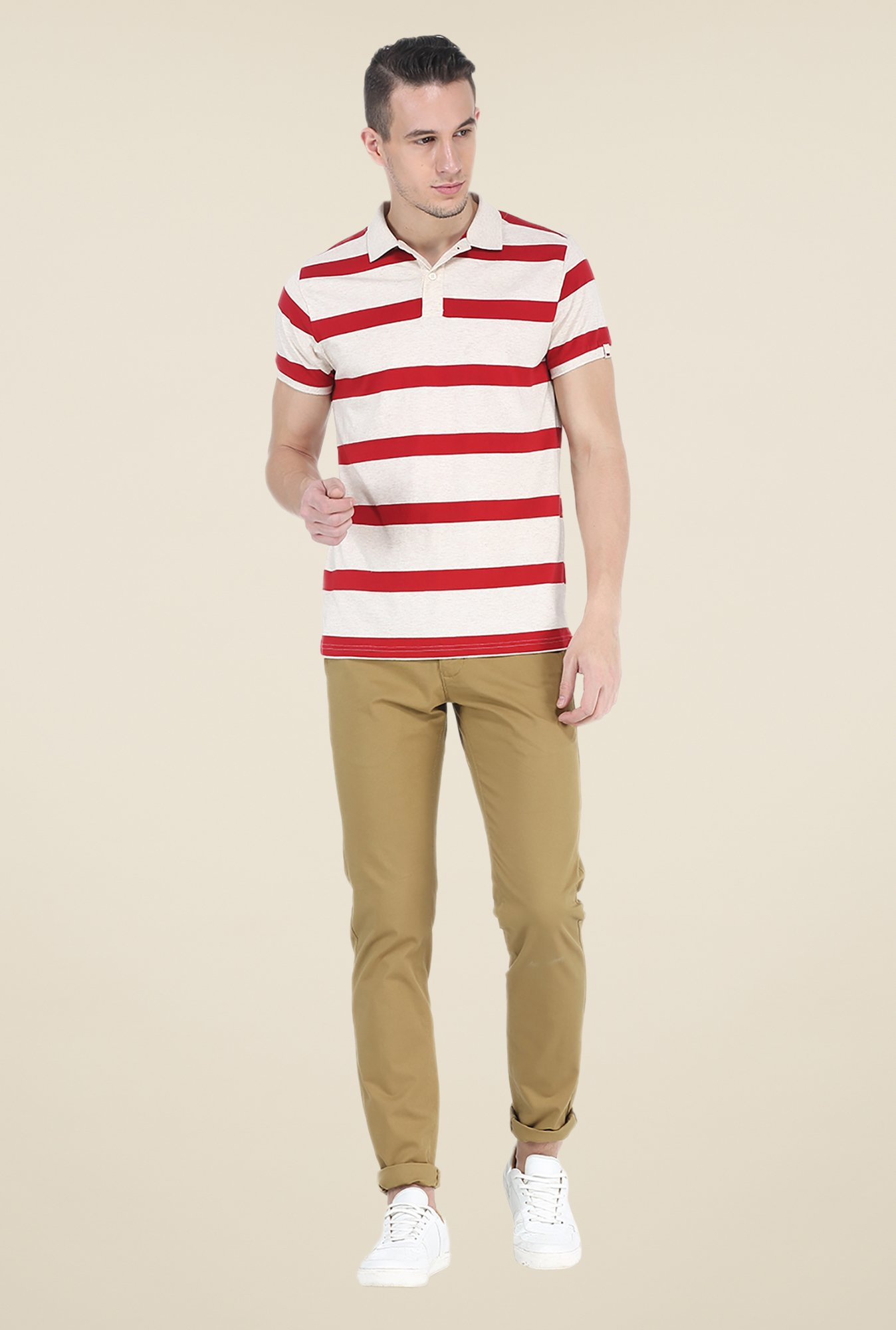 Basics Beige Polo T Shirt